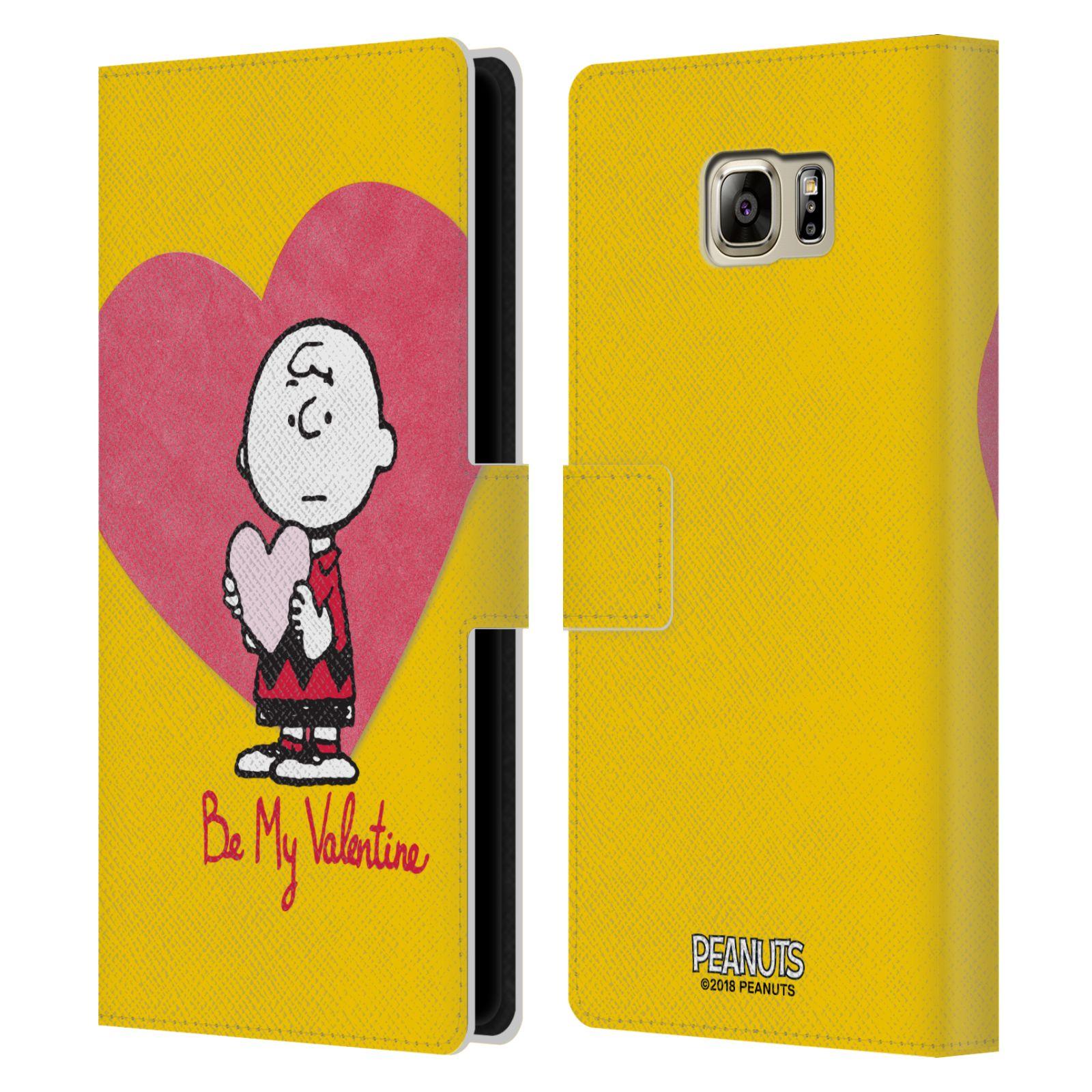 Pouzdro na mobil Samsung Galaxy NOTE 5 - Head Case -Peanuts - Charlie Brown valentýnské srdíčko