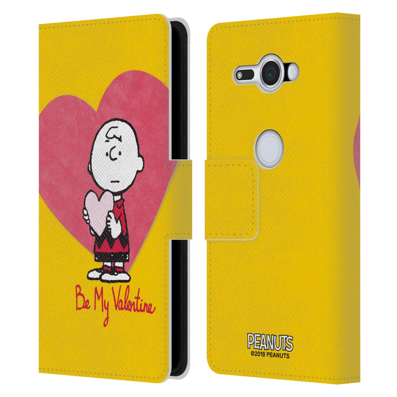 Pouzdro na mobil Sony Xperia XZ2 Compact - Head Case -Peanuts - Charlie Brown valentýnské srdíčko