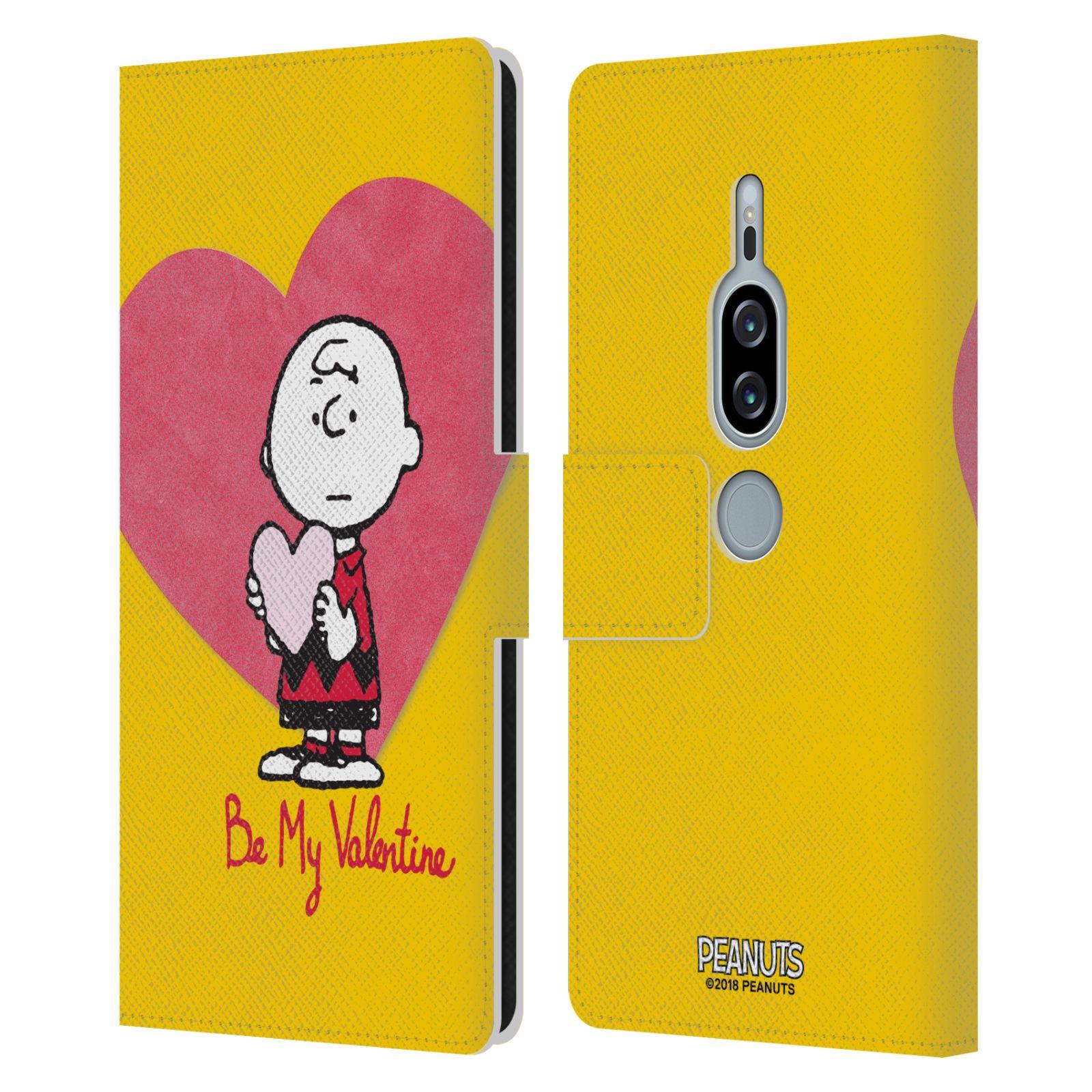 Pouzdro na mobil Sony Xperia XZ2 Premium - Head Case -Peanuts - Charlie Brown valentýnské srdíčko