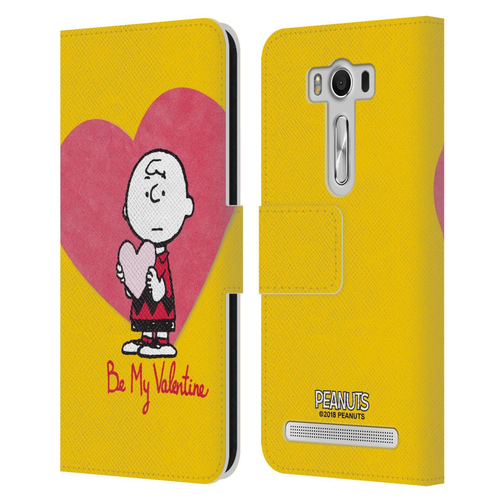 Pouzdro na mobil Asus Zenfone 2 Laser ZE500KL - Head Case -Peanuts - Charlie Brown valentýnské srdíčko