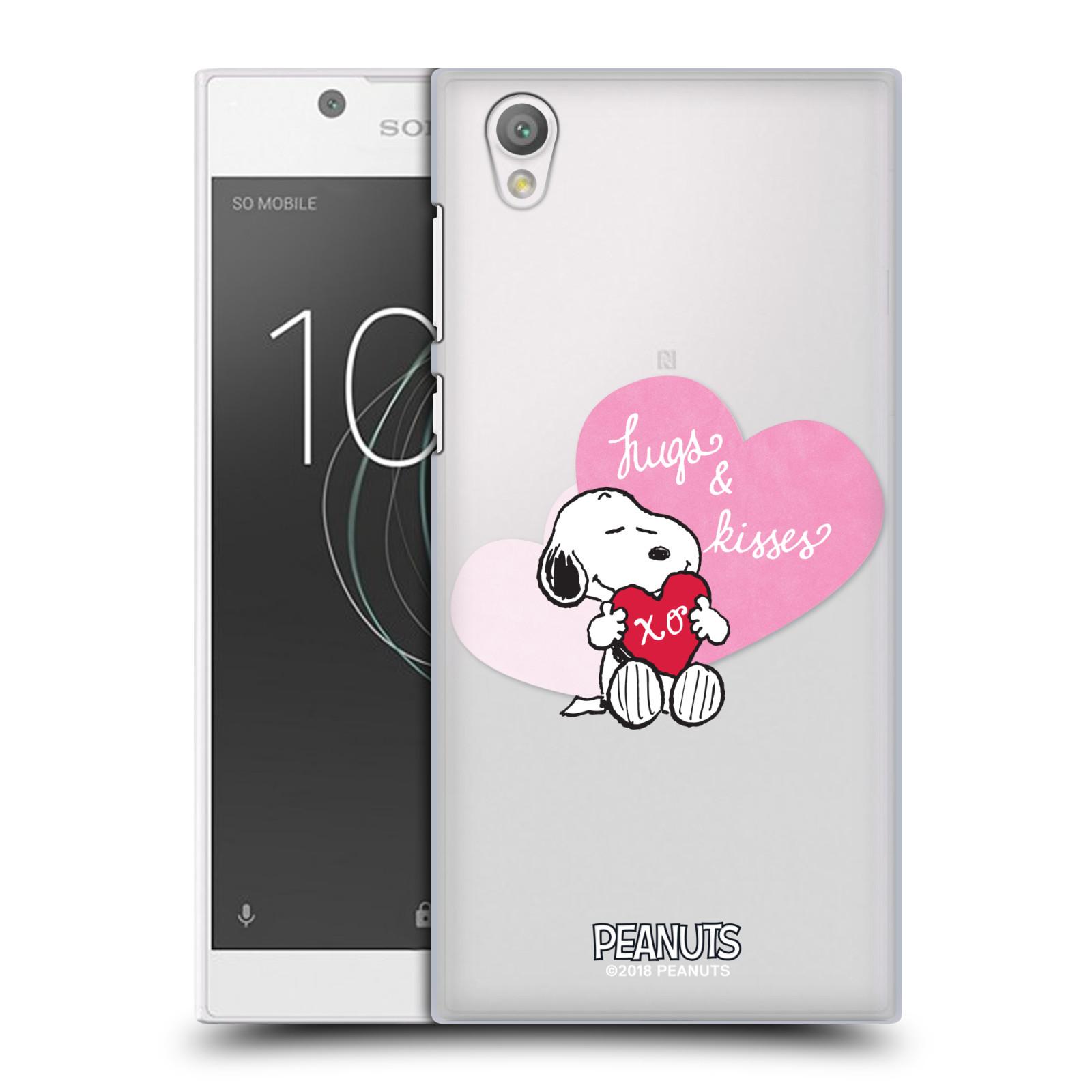 Pouzdro na mobil Sony Xperia L1 Oficiální motiv Snoopy pejsek růžové srdíčko
