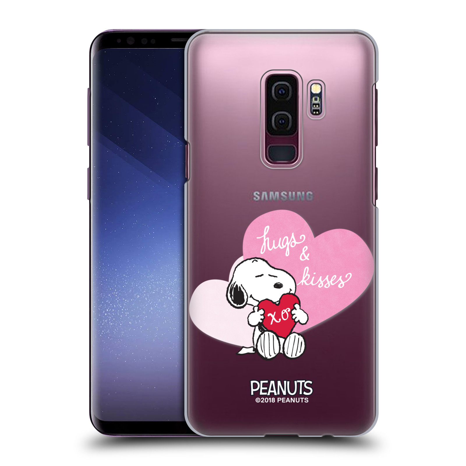 Pouzdro na mobil Samsung Galaxy S9+ / S9 PLUS Oficiální motiv Snoopy pejsek růžové srdíčko