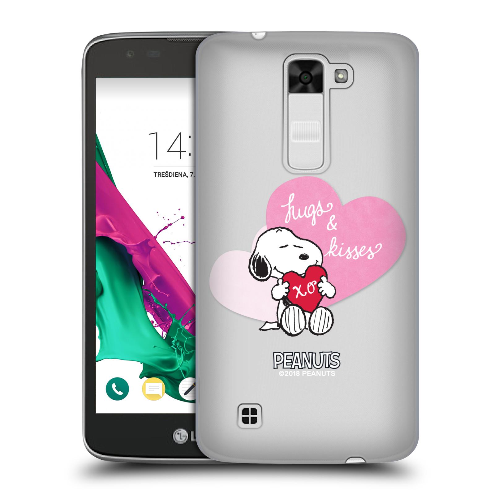 Pouzdro na mobil LG K7 Oficiální motiv Snoopy pejsek růžové srdíčko