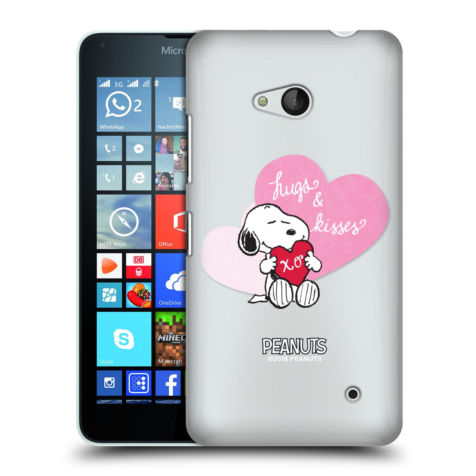 Pouzdro na mobil Microsoft Lumia 640 / 640 DUAL SIM Oficiální motiv Snoopy pejsek růžové srdíčko