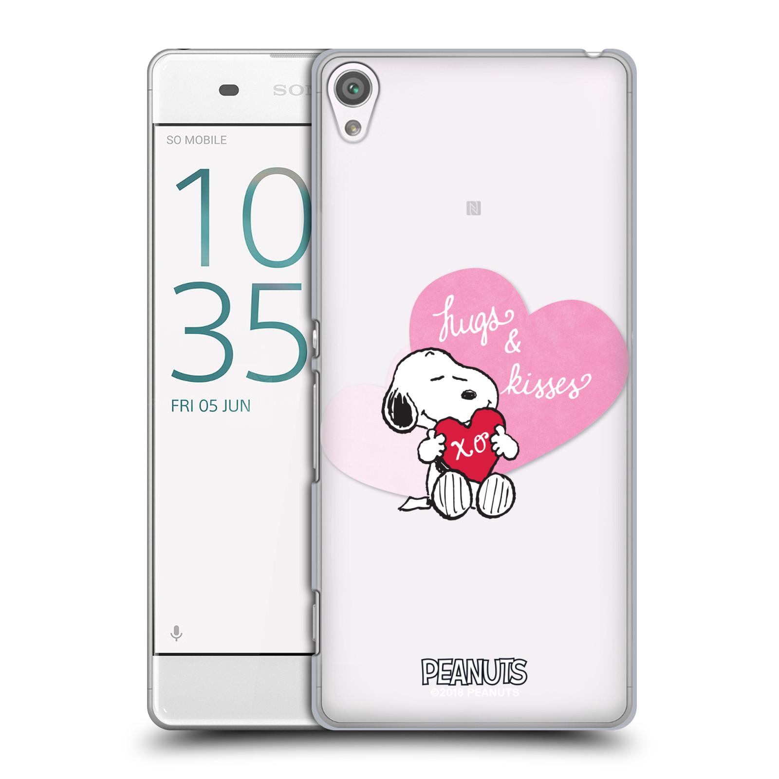 Pouzdro na mobil Sony Xperia XA Oficiální motiv Snoopy pejsek růžové srdíčko