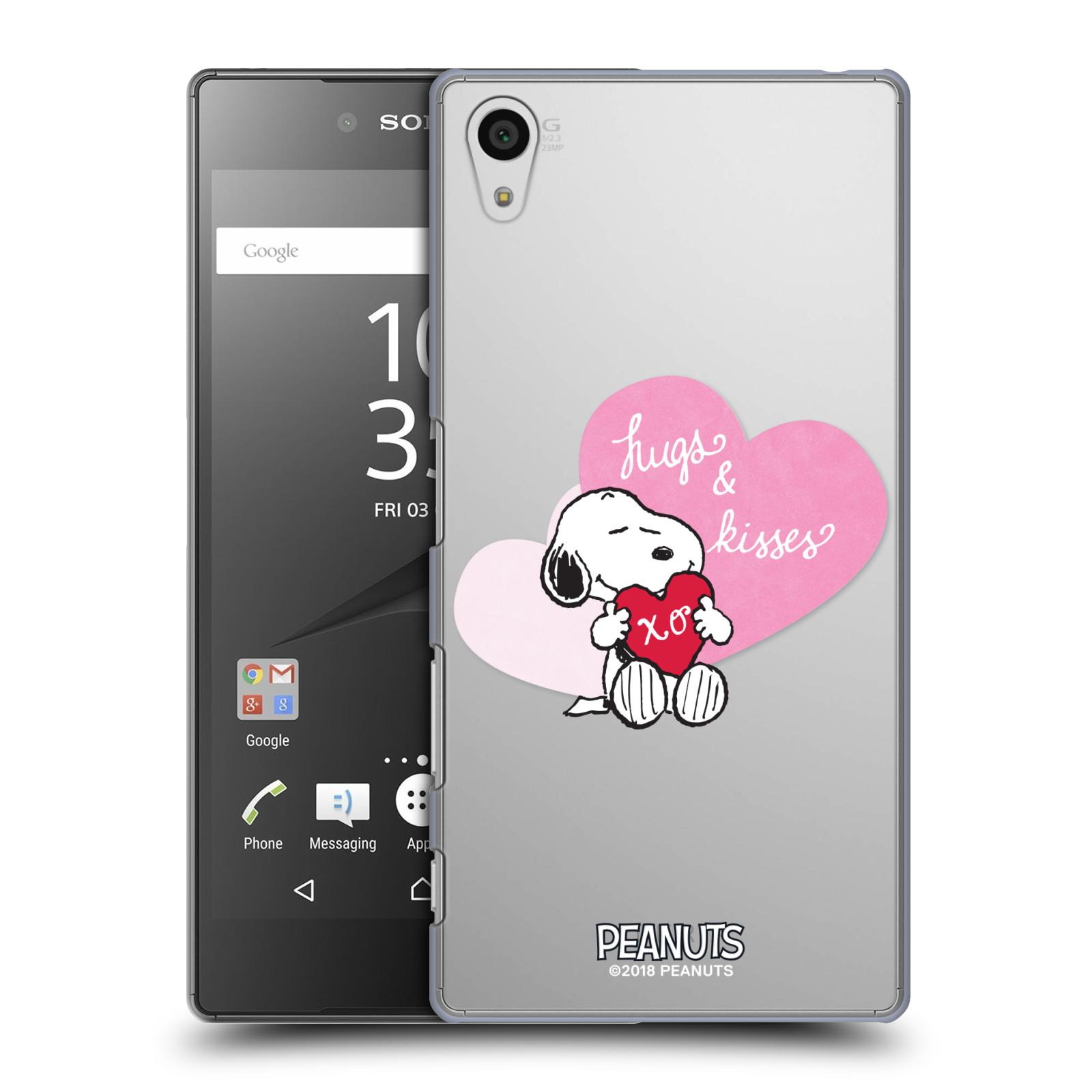 Pouzdro na mobil Sony Xperia Z5 Oficiální motiv Snoopy pejsek růžové srdíčko