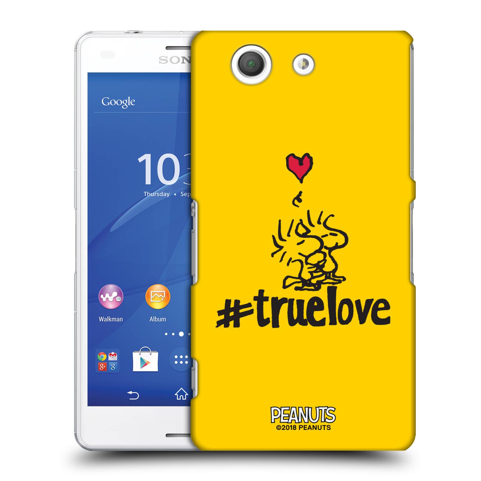 Pouzdro na mobil Sony Xperia Z3 COMPACT Oficiální motiv Peanuts ptáčci žlutá barva srdíčko