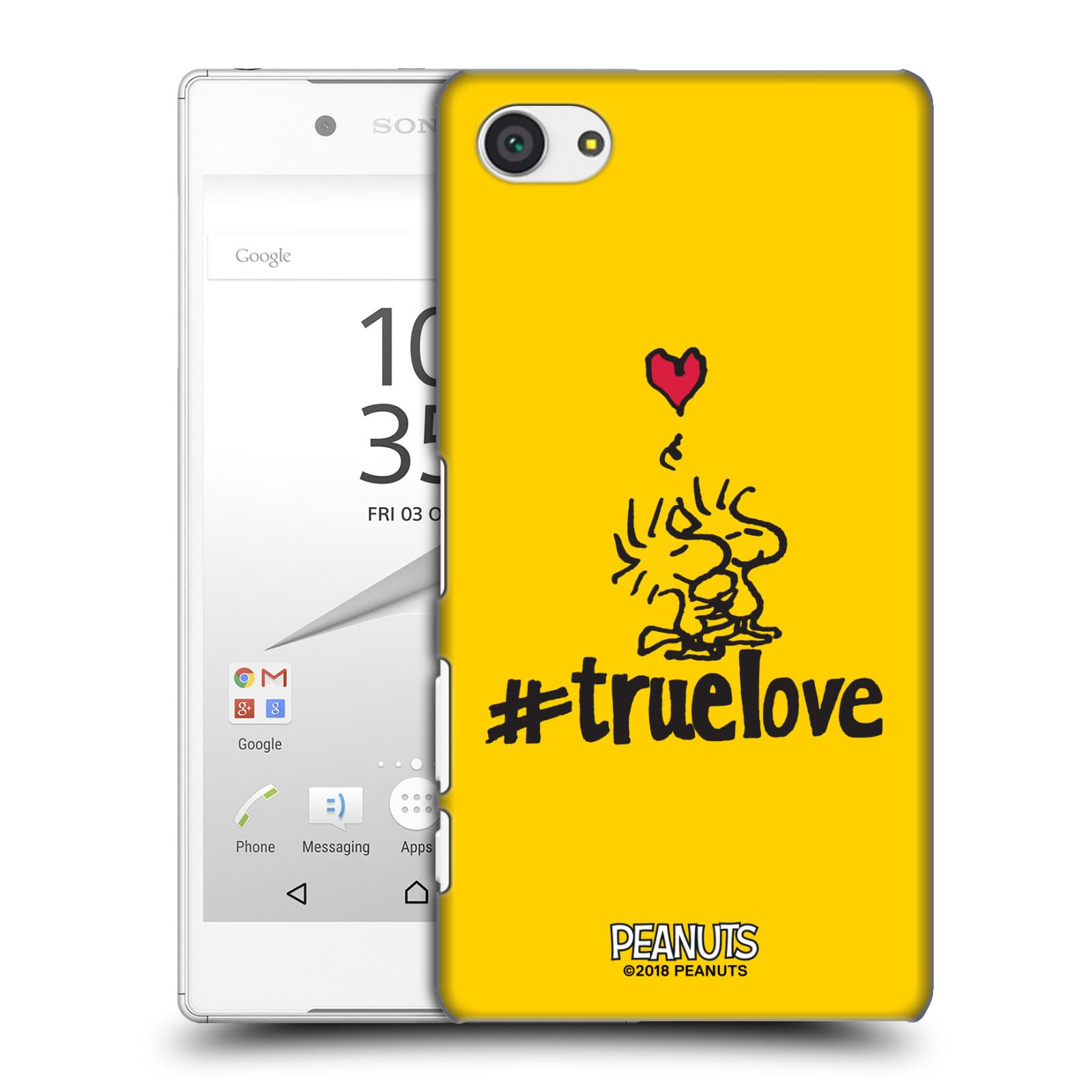 Pouzdro na mobil Sony Xperia Z5 COMPACT Oficiální motiv Peanuts ptáčci žlutá barva srdíčko
