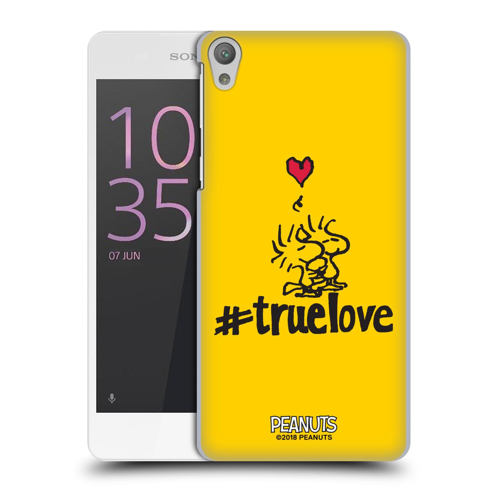 Pouzdro na mobil Sony Xperia E5 Oficiální motiv Peanuts ptáčci žlutá barva srdíčko