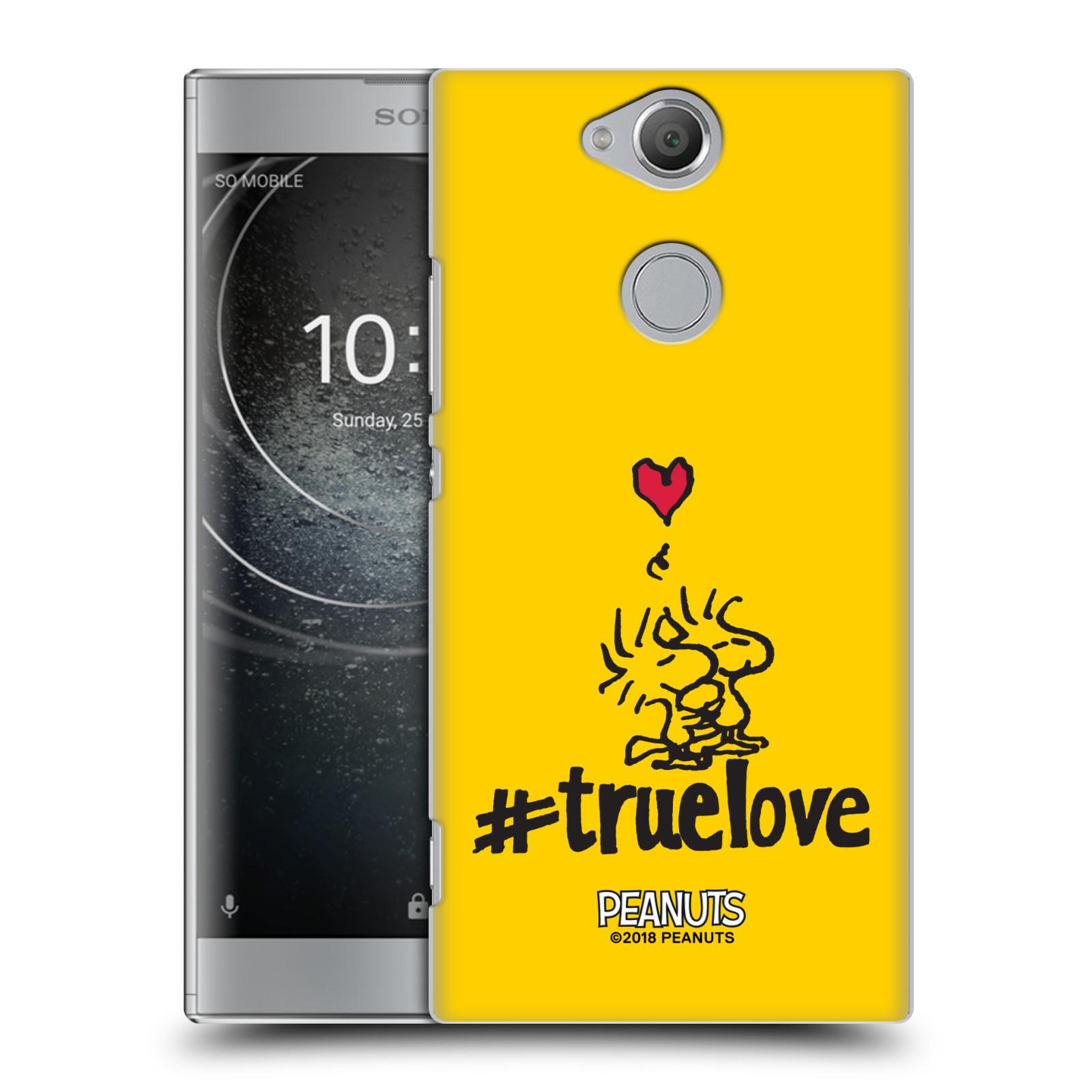 Pouzdro na mobil Sony Xperia XA2 Oficiální motiv Peanuts ptáčci žlutá barva srdíčko