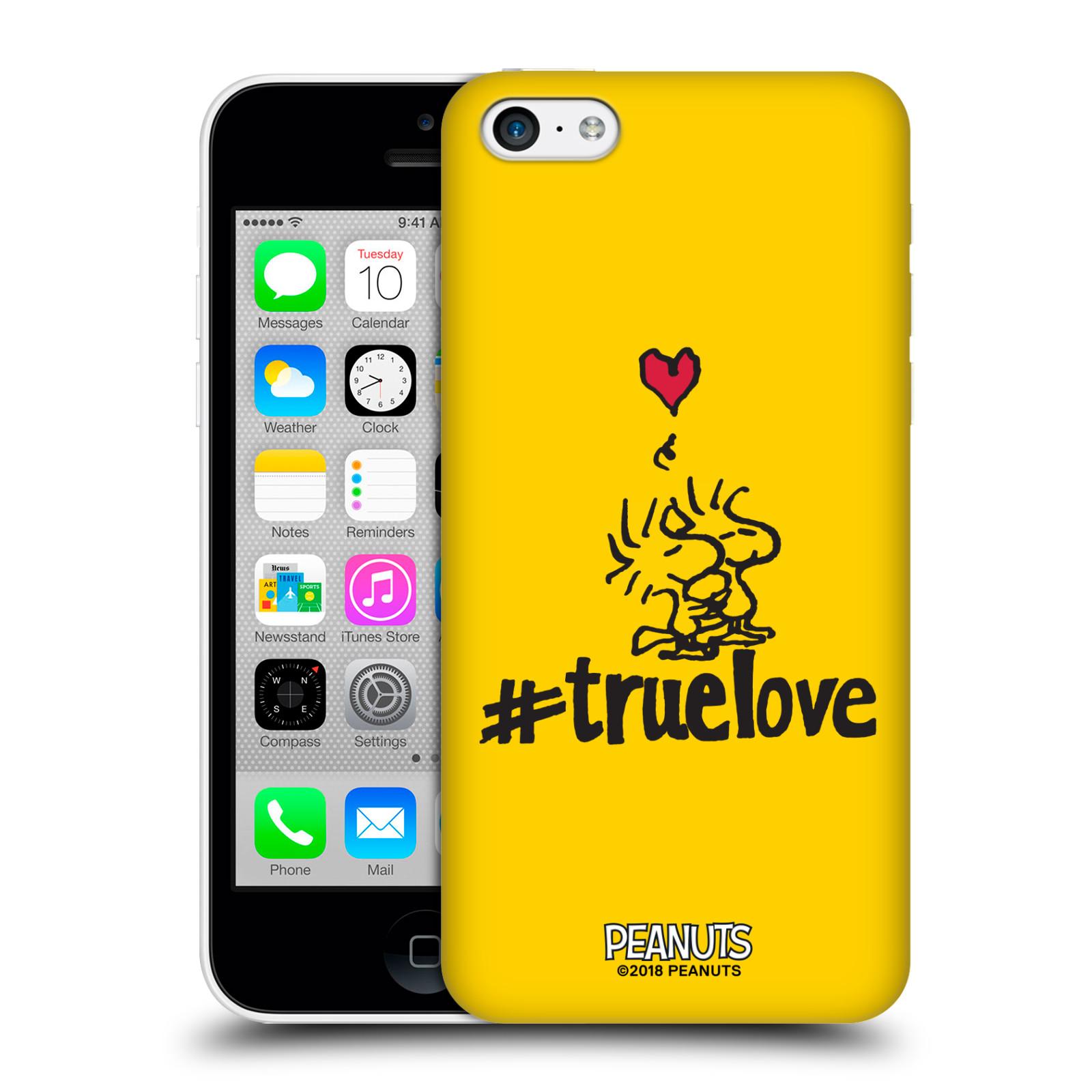 Pouzdro na mobil Apple Iphone 5C Oficiální motiv Peanuts ptáčci žlutá barva srdíčko