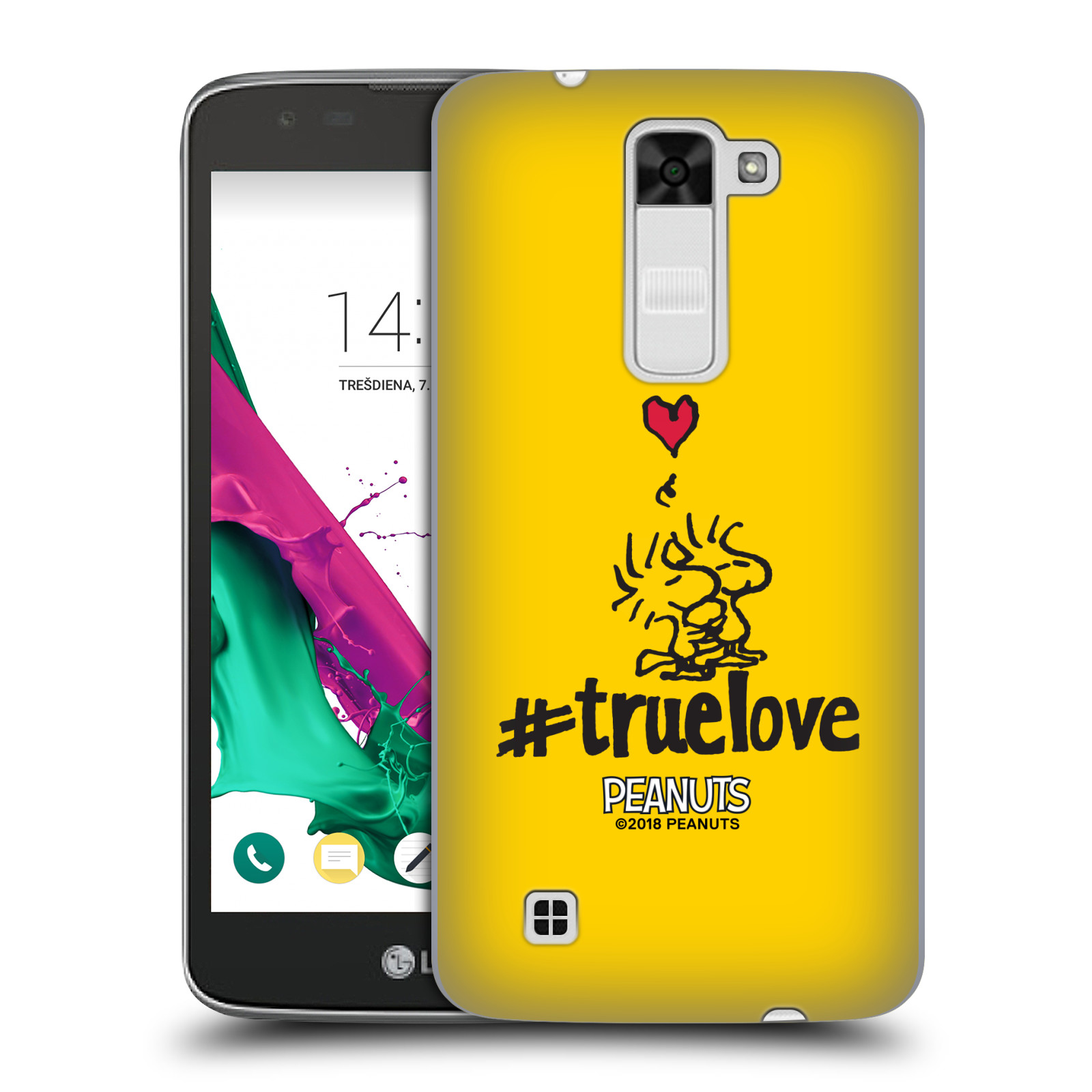 Pouzdro na mobil LG K7 Oficiální motiv Peanuts ptáčci žlutá barva srdíčko