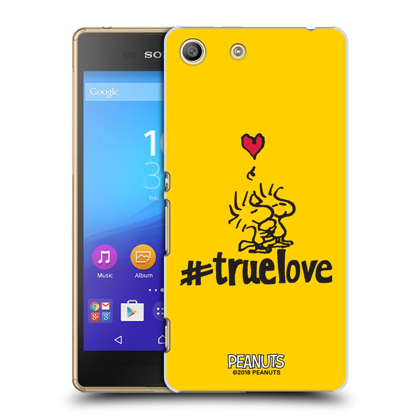 Pouzdro na mobil Sony Xperia M5 Oficiální motiv Peanuts ptáčci žlutá barva srdíčko