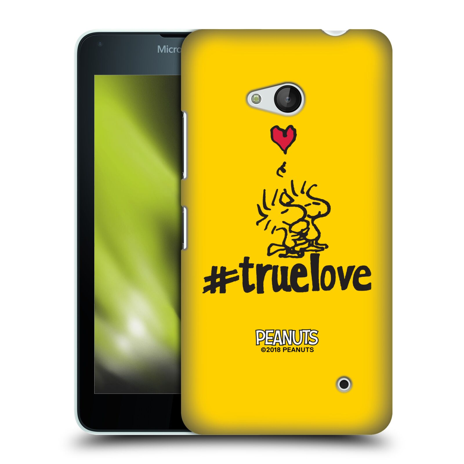 Pouzdro na mobil Microsoft Lumia 640 / 640 DUAL SIM Oficiální motiv Peanuts ptáčci žlutá barva srdíčko