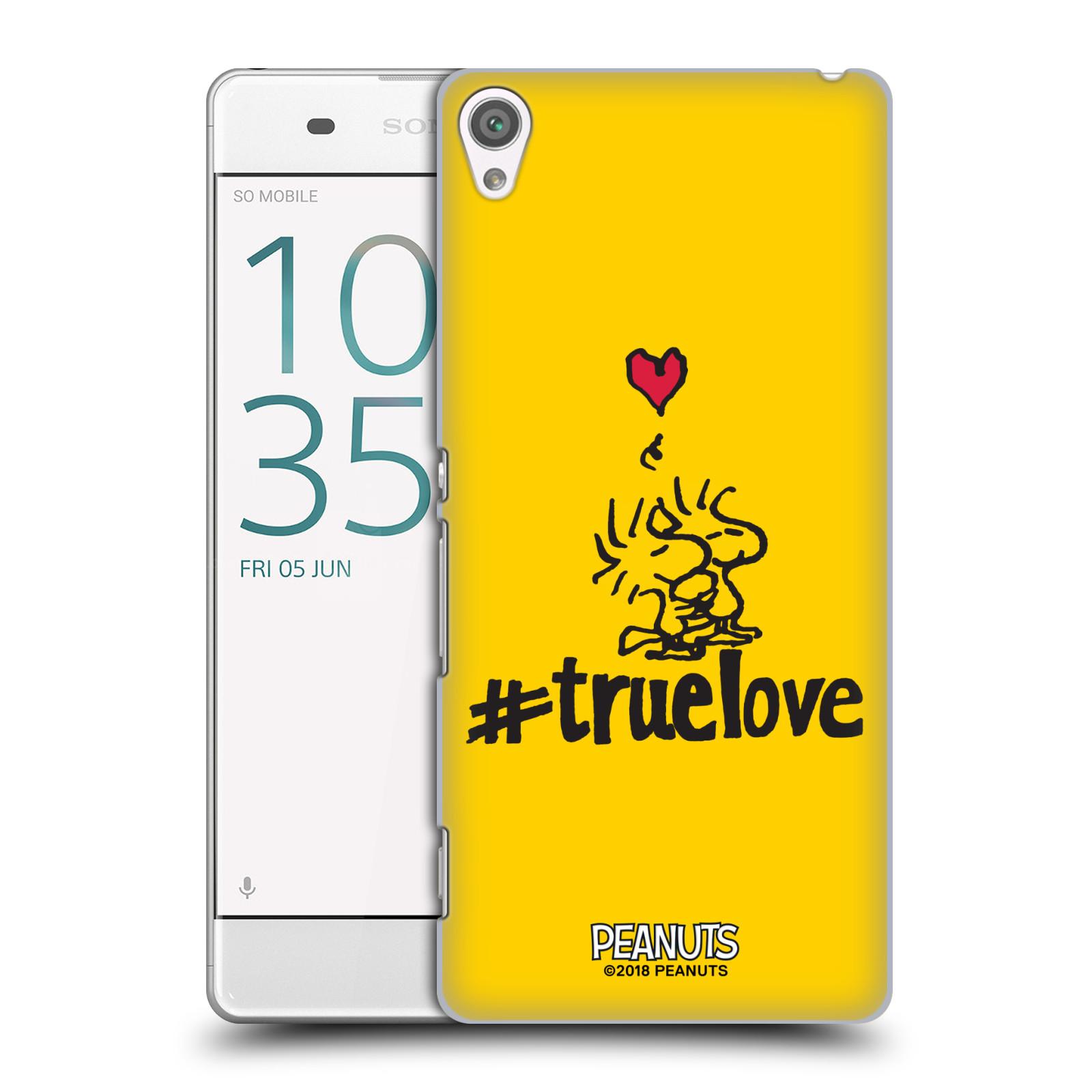 Pouzdro na mobil Sony Xperia XA Oficiální motiv Peanuts ptáčci žlutá barva srdíčko