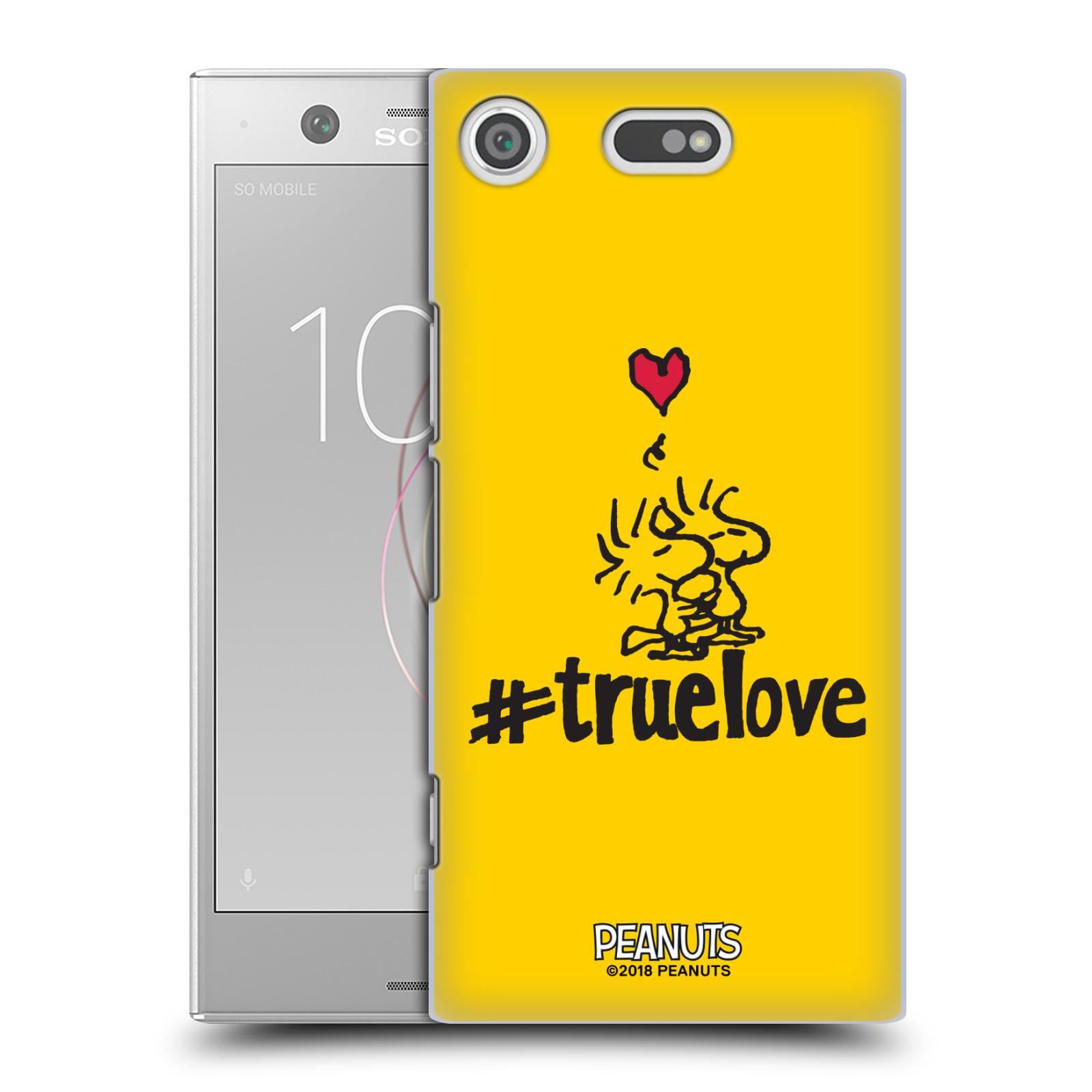 Pouzdro na mobil Sony Xperia XZ1 COMPACT Oficiální motiv Peanuts ptáčci žlutá barva srdíčko