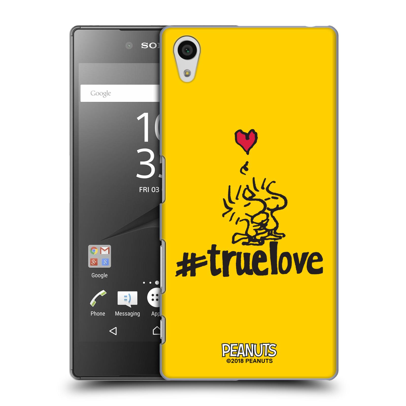 Pouzdro na mobil Sony Xperia Z5 Oficiální motiv Peanuts ptáčci žlutá barva srdíčko