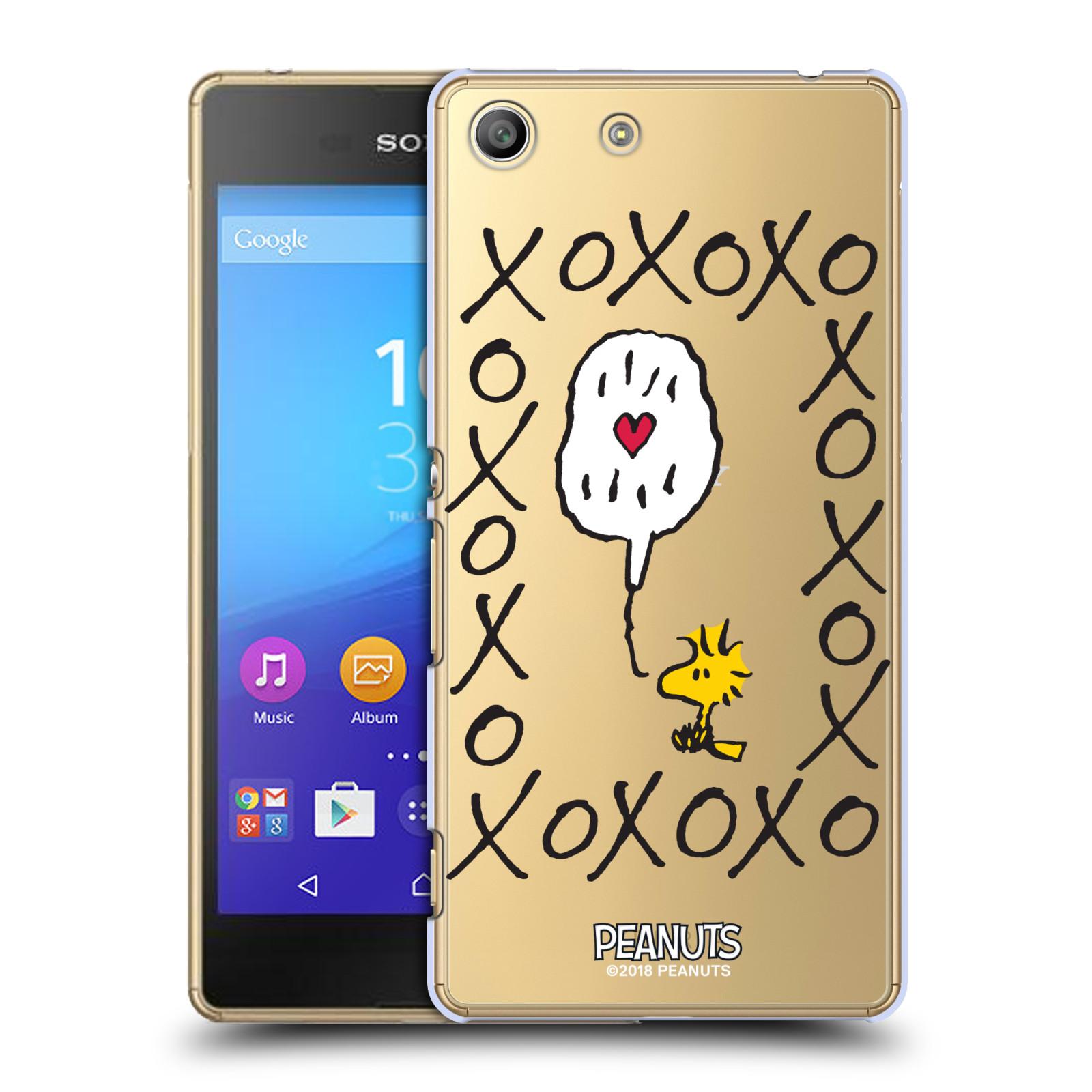 Pouzdro na mobil Sony Xperia M5 Oficiální motiv Peanuts ptáček Woodstock srdíčko