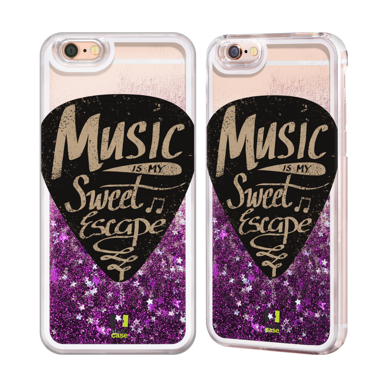 HEAD CASE POWER OF MUSIC PURPLE GLITTER CASE FOR APPLE iPHONE SAMSUNG PHONES