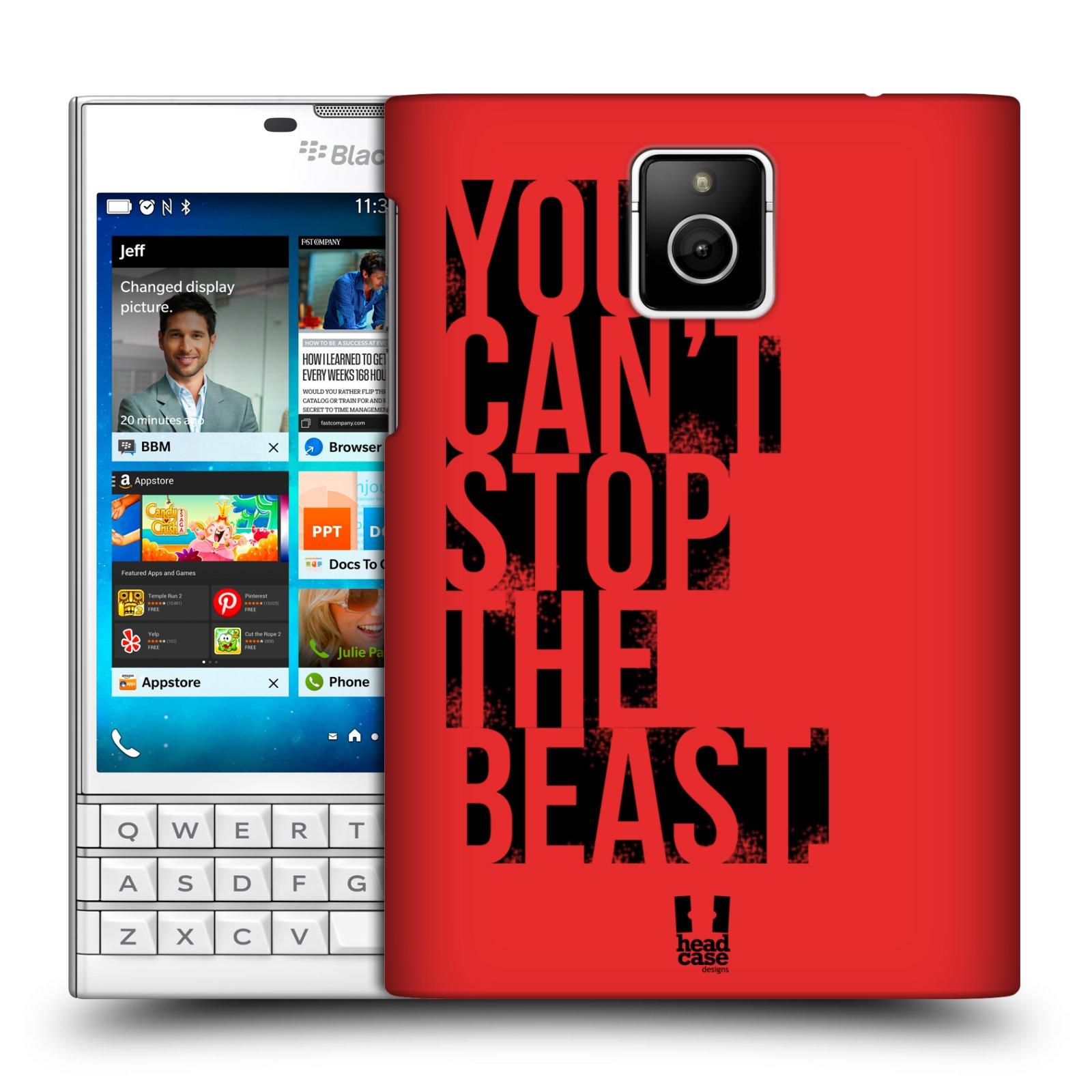 HEAD CASE plastový obal na mobil BlackBerry Passport Sportovní tématika Beast mode červená