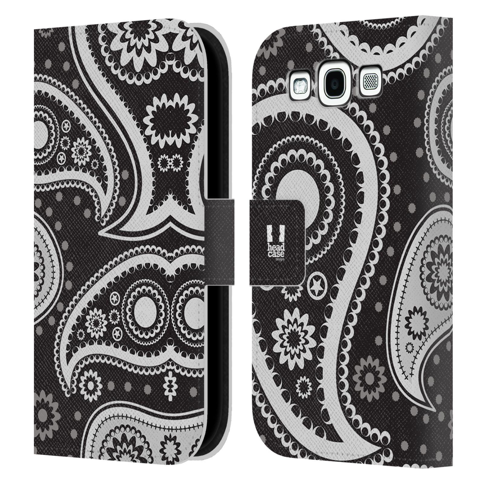 HEAD CASE Flipové pouzdro pro mobil Samsung Galaxy S3 barevné slzy černá a bílá