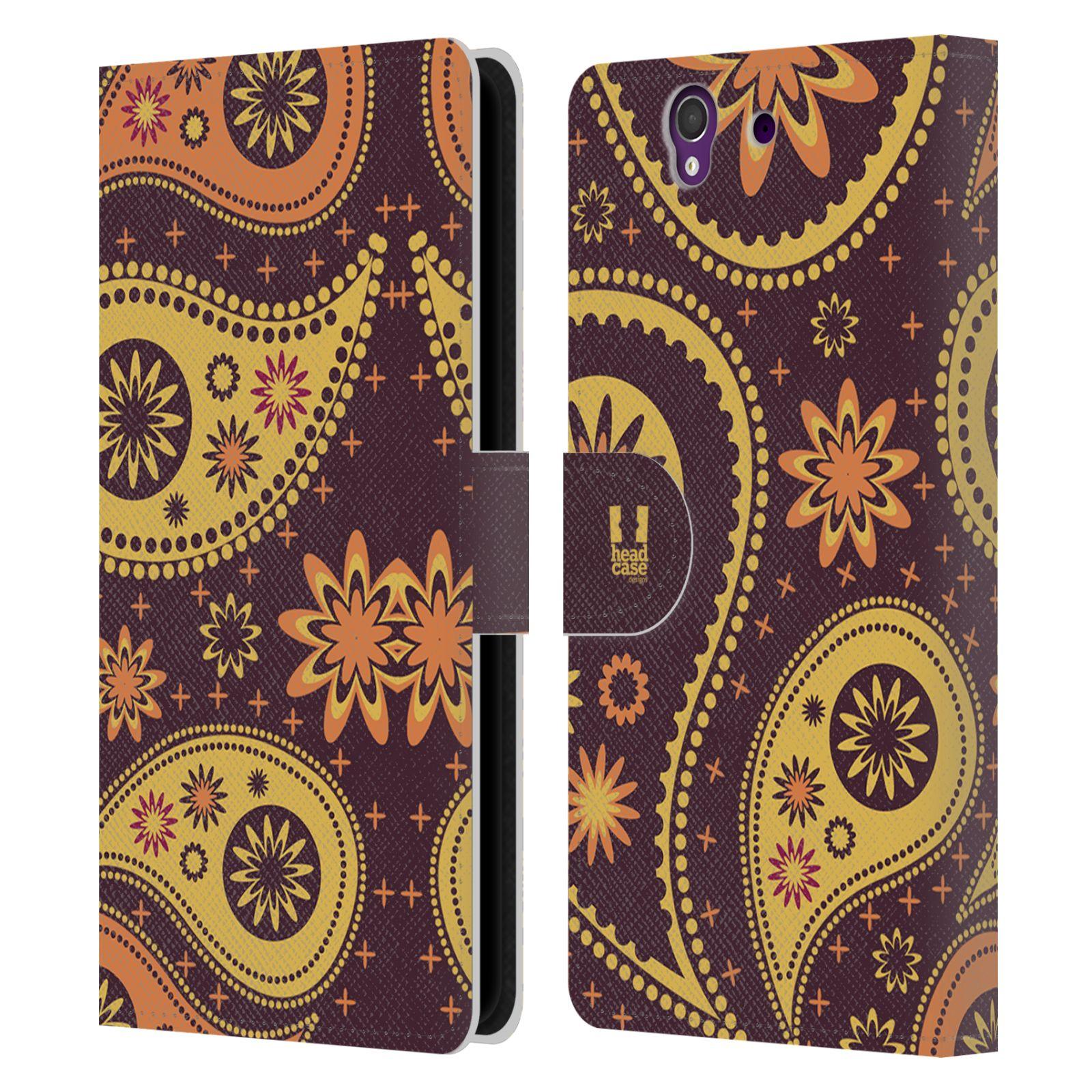 HEAD CASE Flipové pouzdro pro mobil SONY XPERIA Z (C6603) barevné slzy švestková