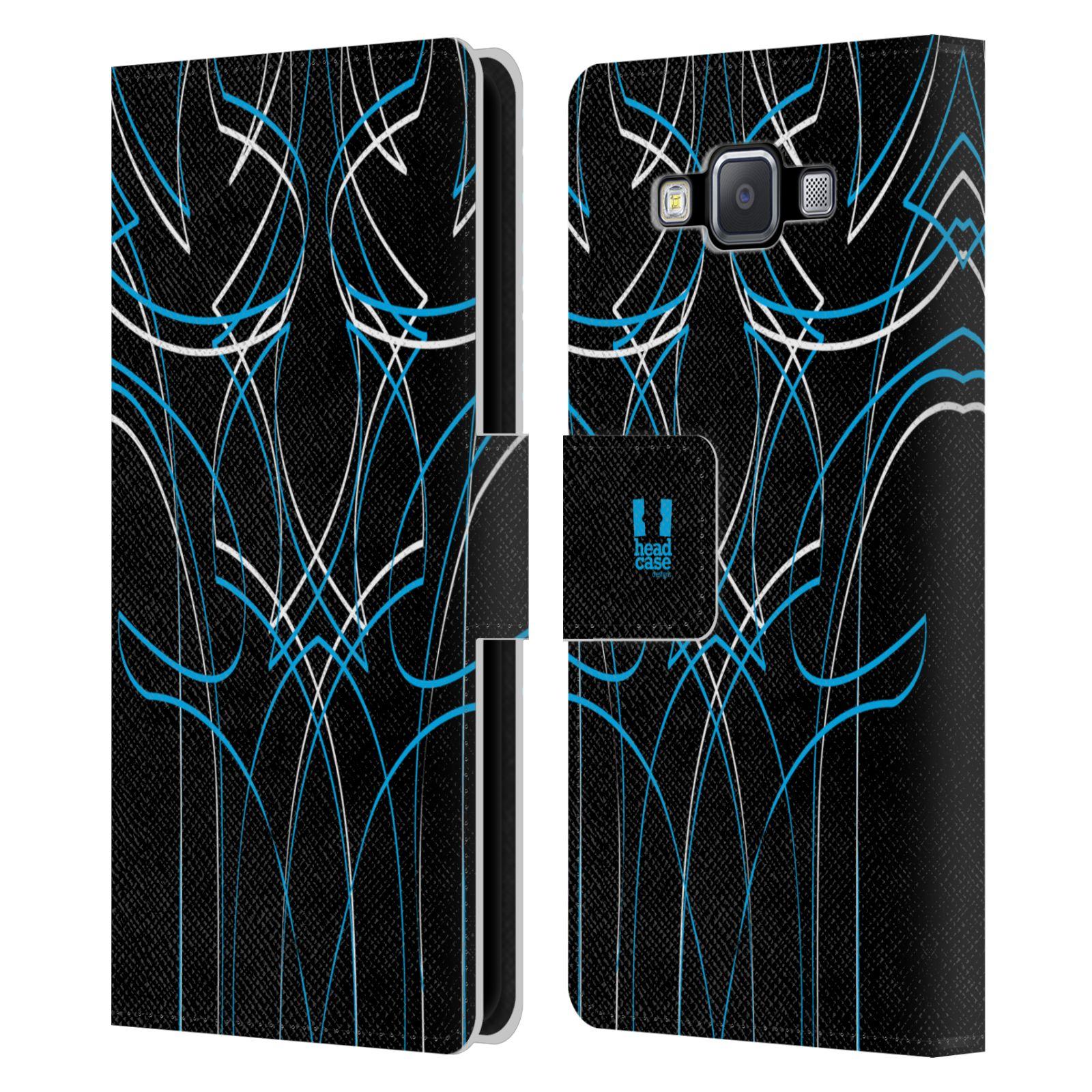 HEAD CASE Flipové pouzdro pro mobil Samsung Galaxy A5 barevné proužky tvary modrá
