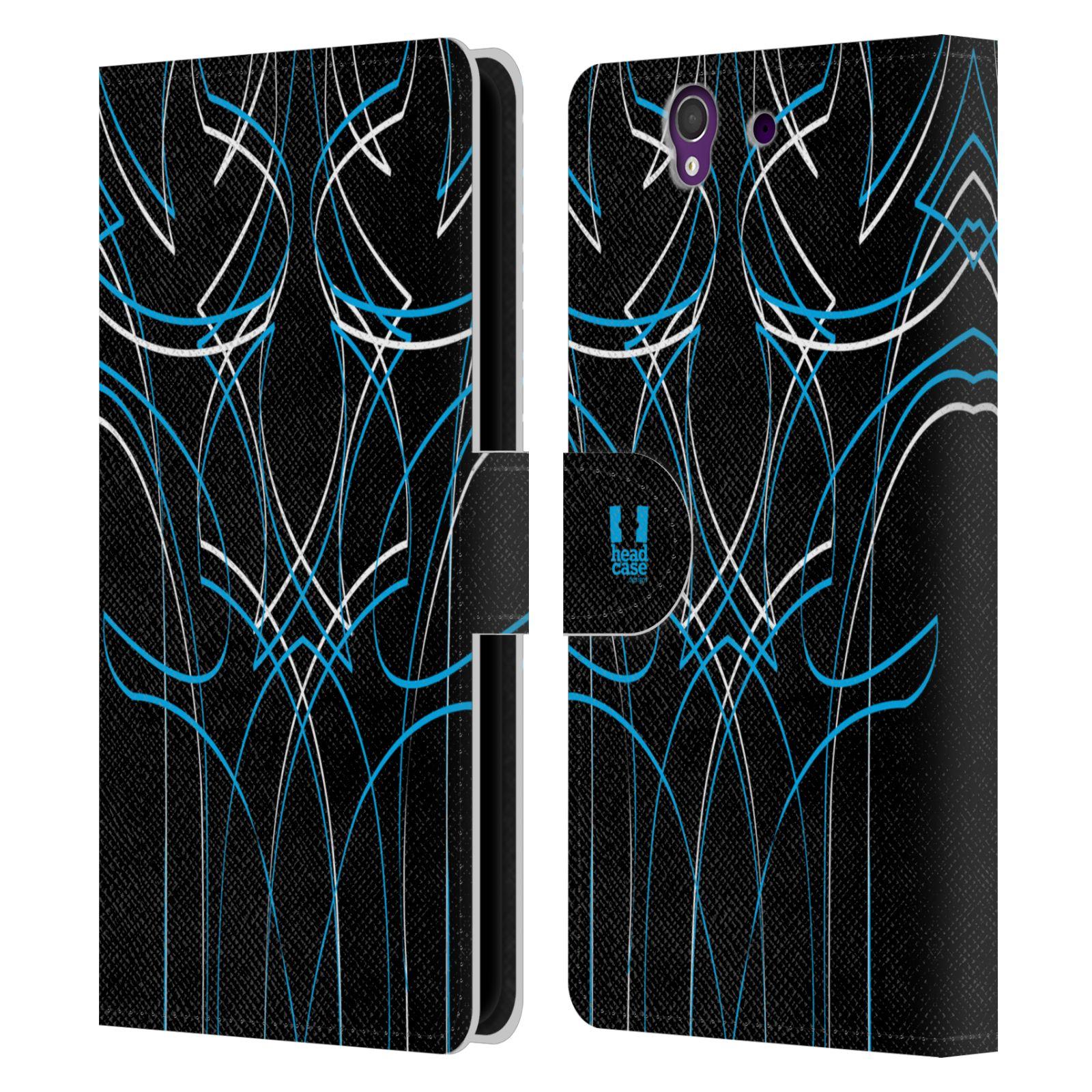 HEAD CASE Flipové pouzdro pro mobil SONY XPERIA Z (C6603) barevné proužky tvary modrá