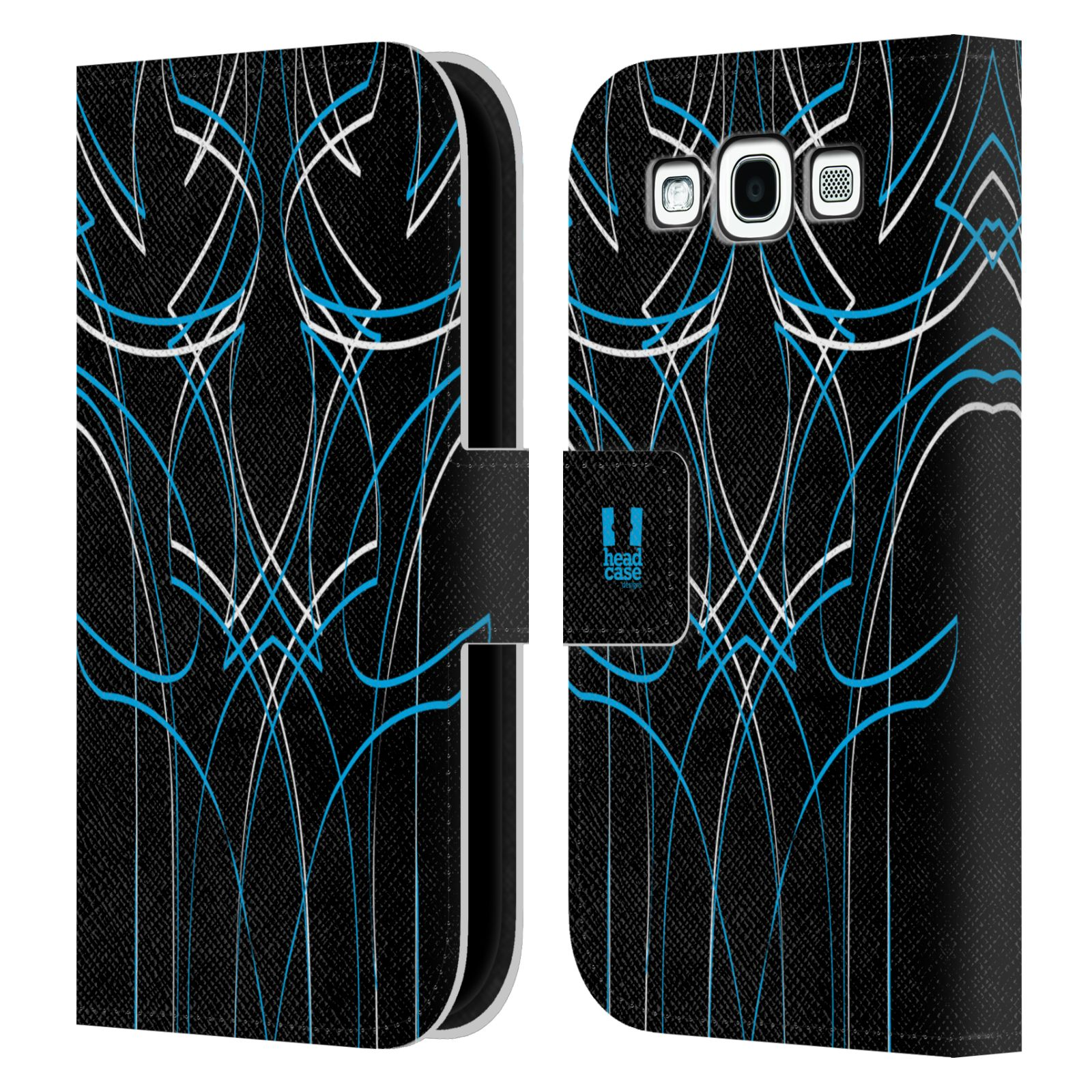 HEAD CASE Flipové pouzdro pro mobil Samsung Galaxy S3 barevné proužky tvary modrá