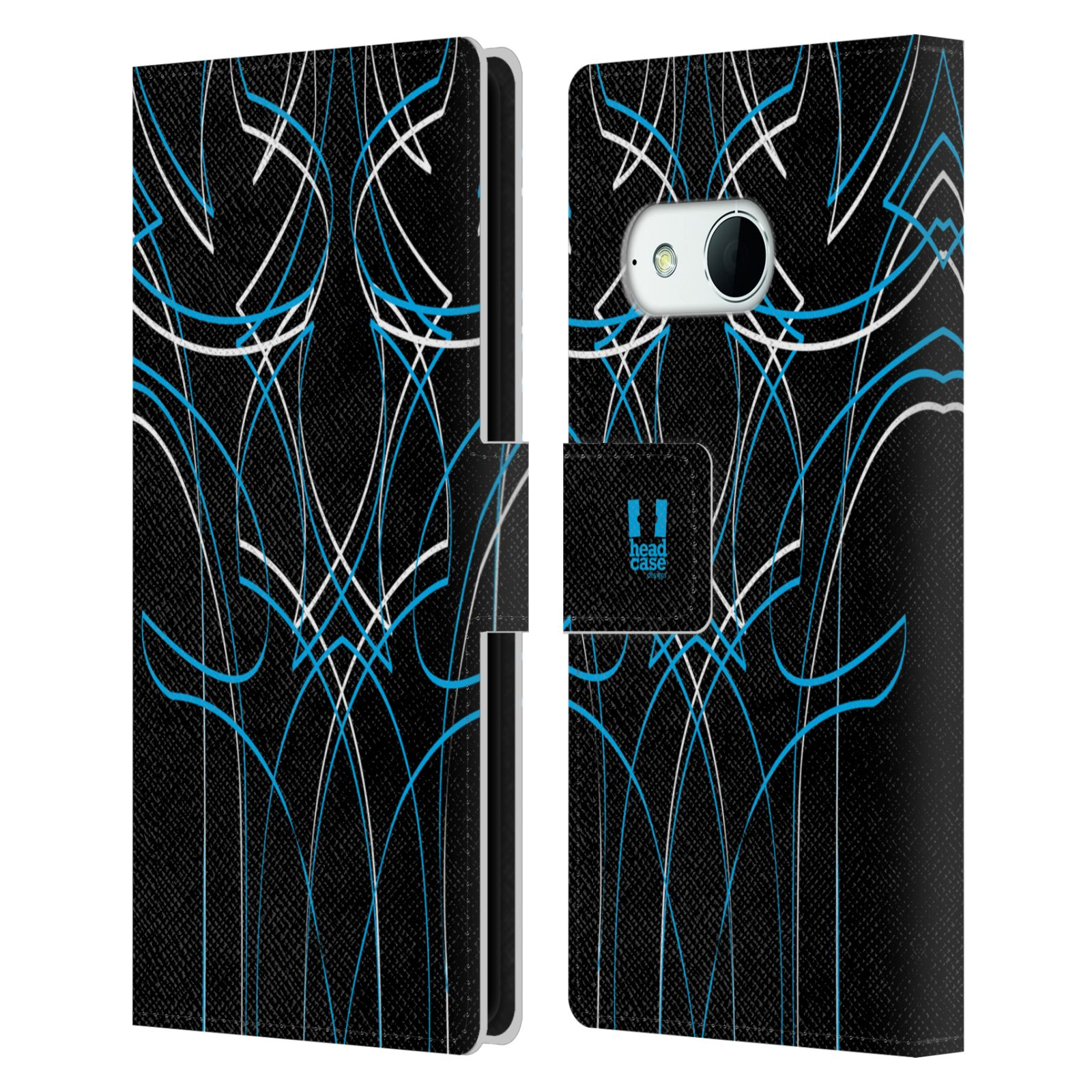 HEAD CASE Flipové pouzdro pro mobil HTC ONE MINI 2 (M8) barevné proužky tvary modrá
