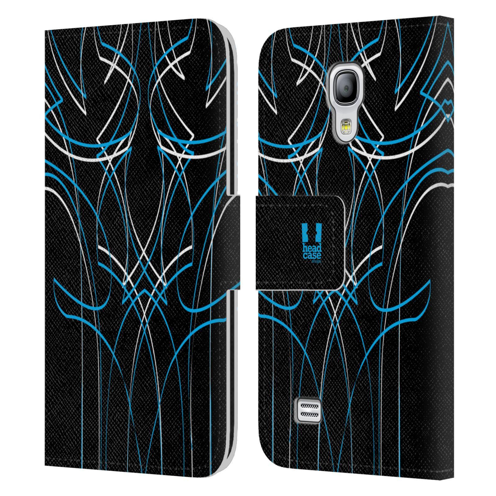HEAD CASE Flipové pouzdro pro mobil Samsung Galaxy S4 MINI / S4 MINI DUOS barevné proužky tvary modrá