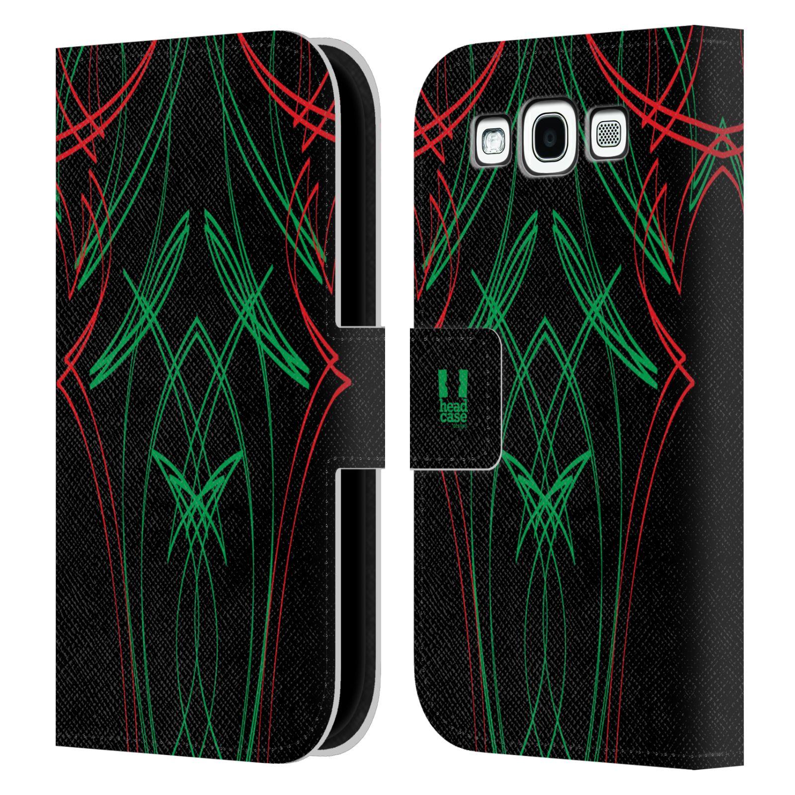 HEAD CASE Flipové pouzdro pro mobil Samsung Galaxy S3 barevné proužky tvary zelená a červená