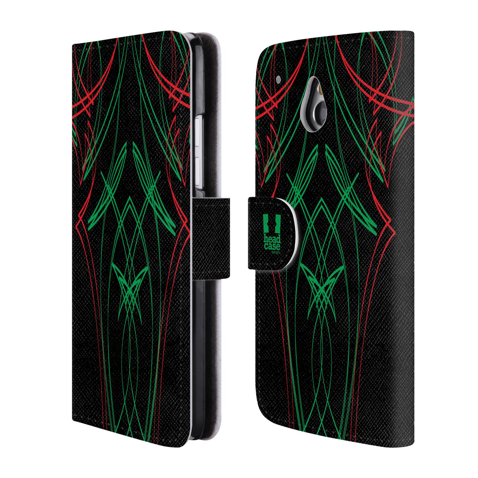 HEAD CASE Flipové pouzdro pro mobil HTC ONE MINI (M4) barevné proužky tvary zelená a červená