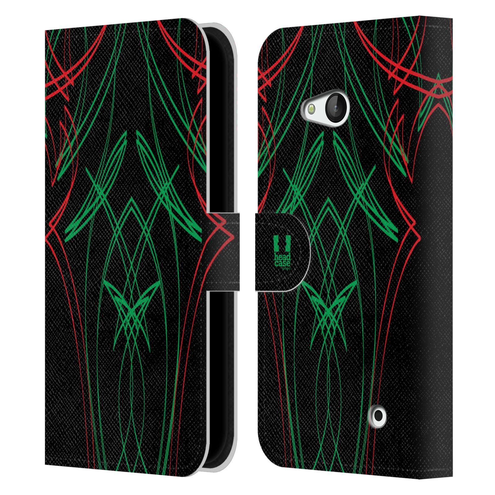 HEAD CASE Flipové pouzdro pro mobil NOKIA / MICROSOFT LUMIA 640 / LUMIA 640 DUAL barevné proužky tvary zelená a červená