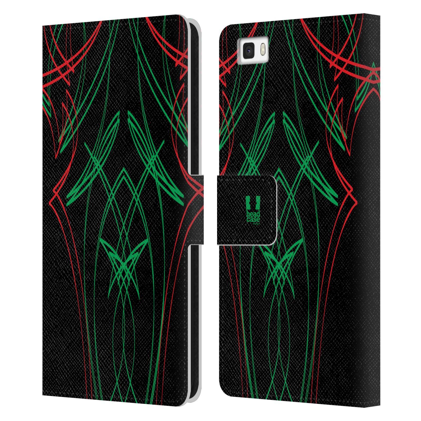 HEAD CASE Flipové pouzdro pro mobil Huawei P8 LITE barevné proužky tvary zelená a červená