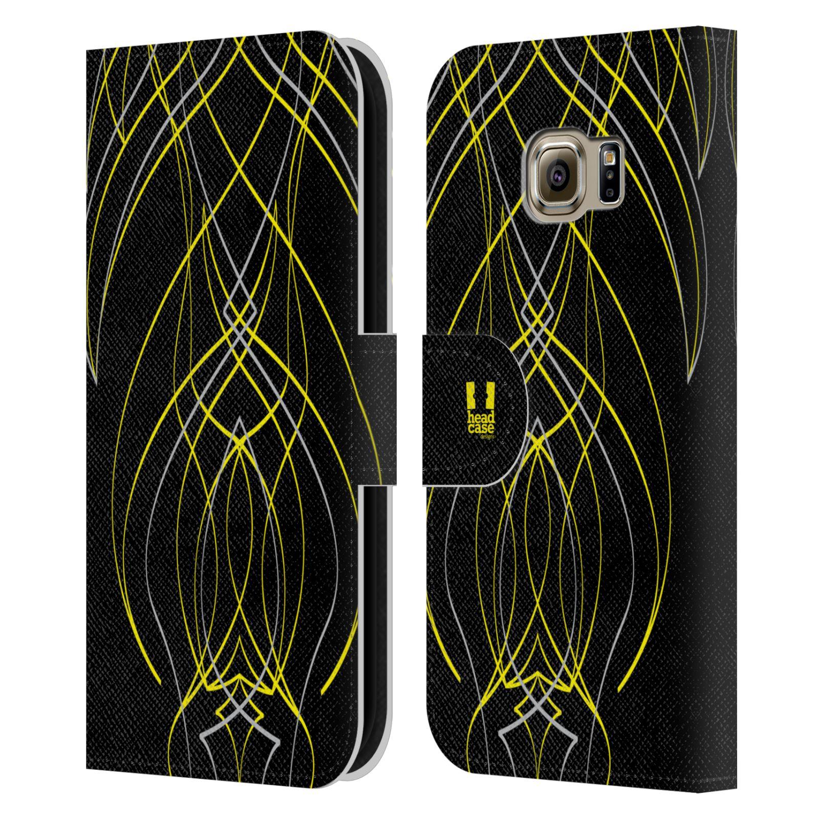 HEAD CASE Flipové pouzdro pro mobil Samsung Galaxy S6 EDGE barevné proužky tvary žlutá