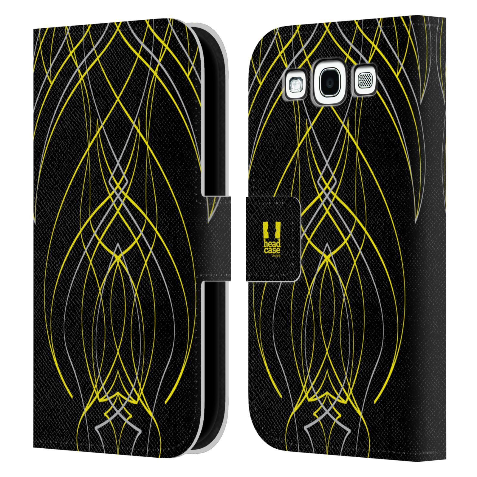 HEAD CASE Flipové pouzdro pro mobil Samsung Galaxy S3 barevné proužky tvary žlutá