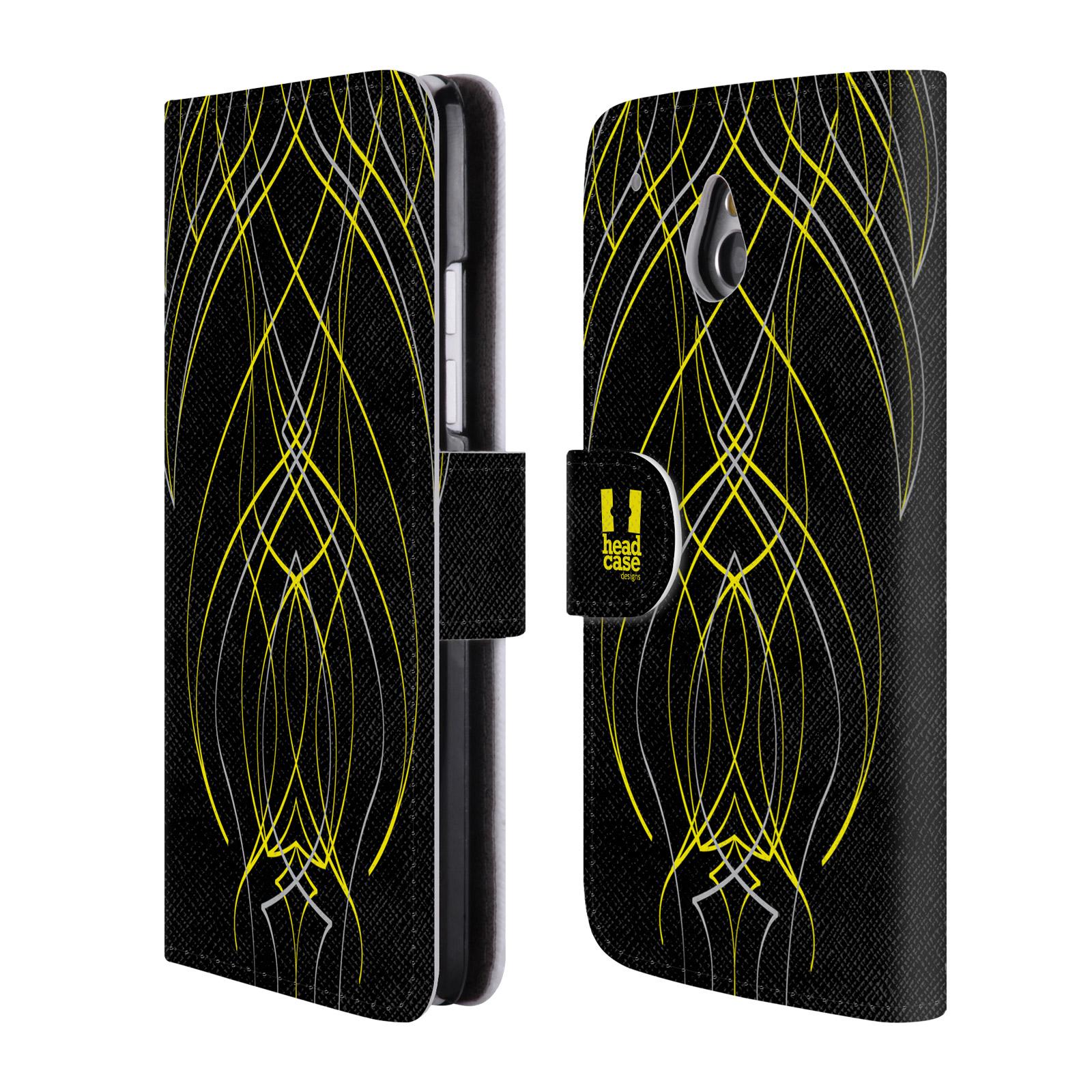 HEAD CASE Flipové pouzdro pro mobil HTC ONE MINI (M4) barevné proužky tvary žlutá