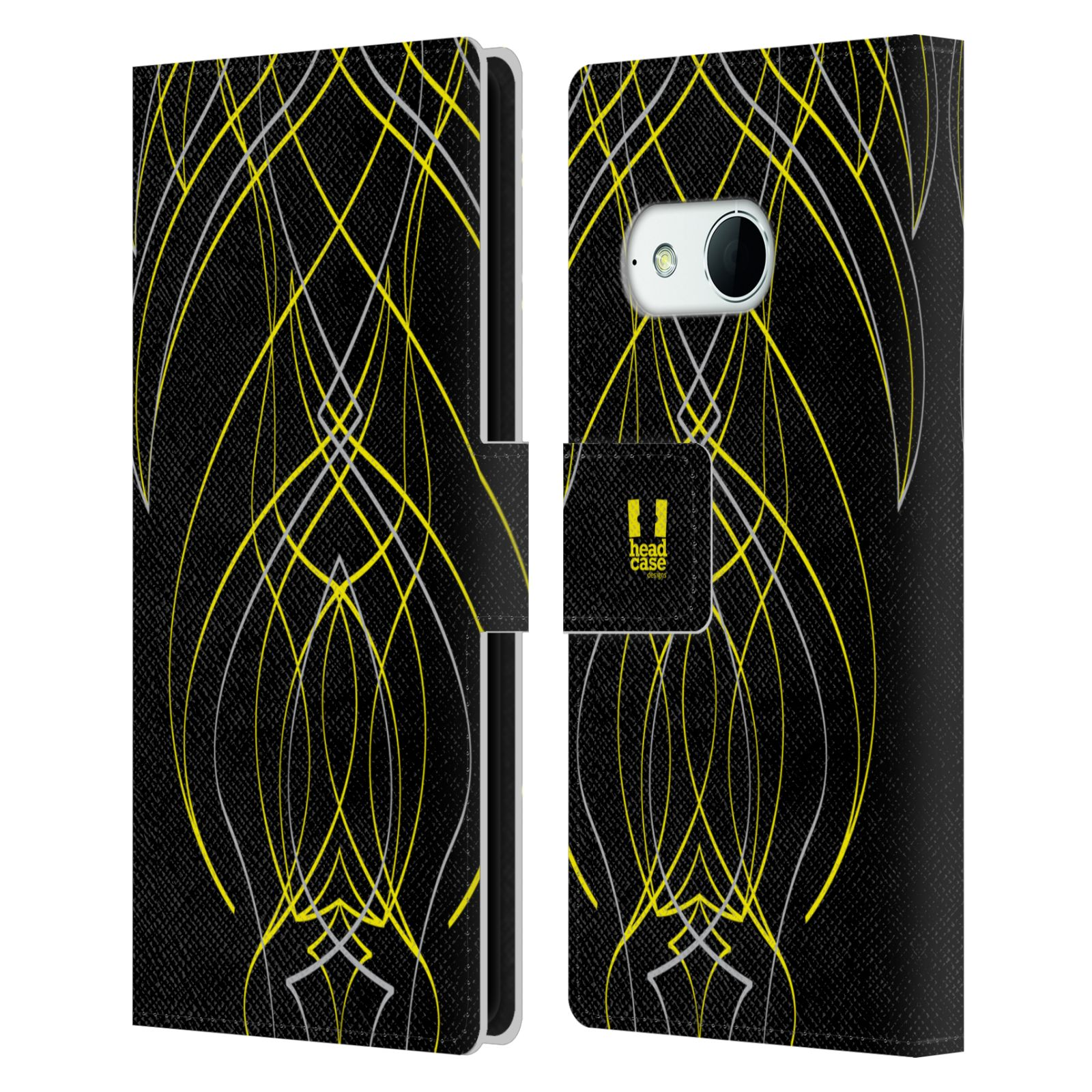 HEAD CASE Flipové pouzdro pro mobil HTC ONE MINI 2 (M8) barevné proužky tvary žlutá