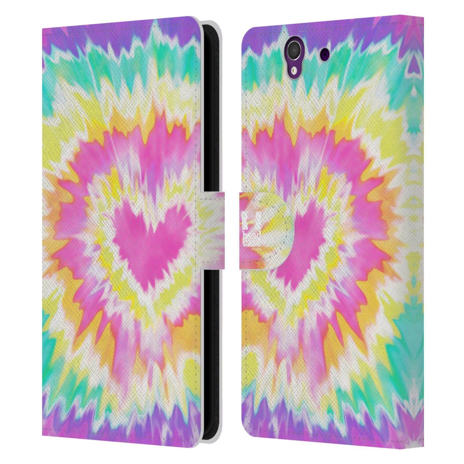 HEAD CASE Flipové pouzdro pro mobil SONY XPERIA Z (C6603) umělecká malba srdce růžová