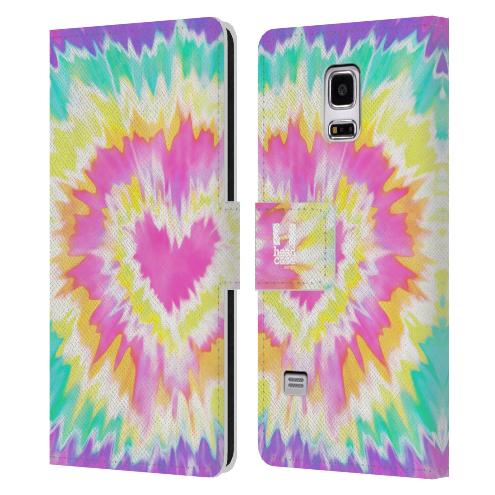 HEAD CASE Flipové pouzdro pro mobil Samsung Galaxy S5 MINI / S5 MINI DUOS umělecká malba srdce růžová