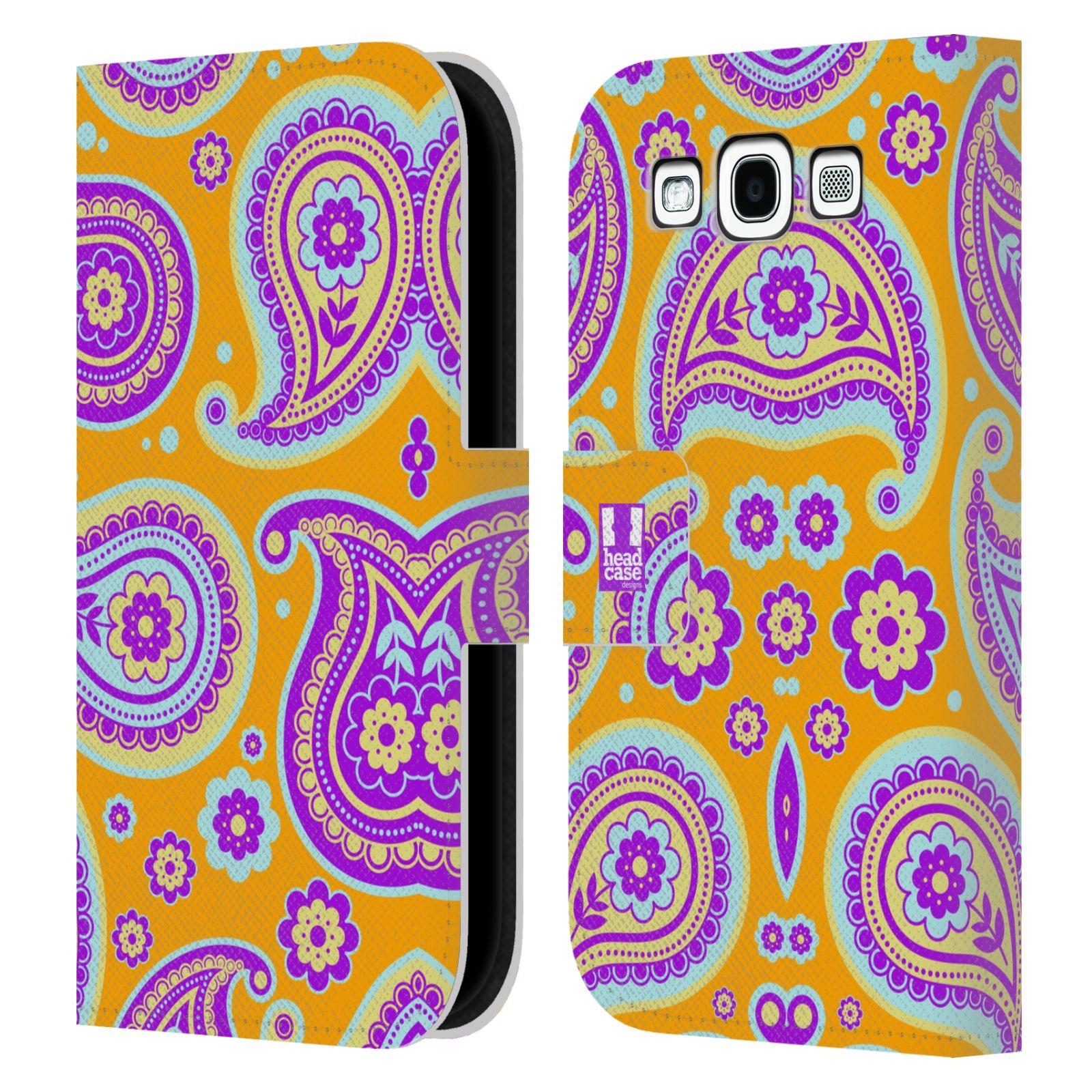 HEAD CASE Flipové pouzdro pro mobil Samsung Galaxy S3 snové slzy oranžová a fialová