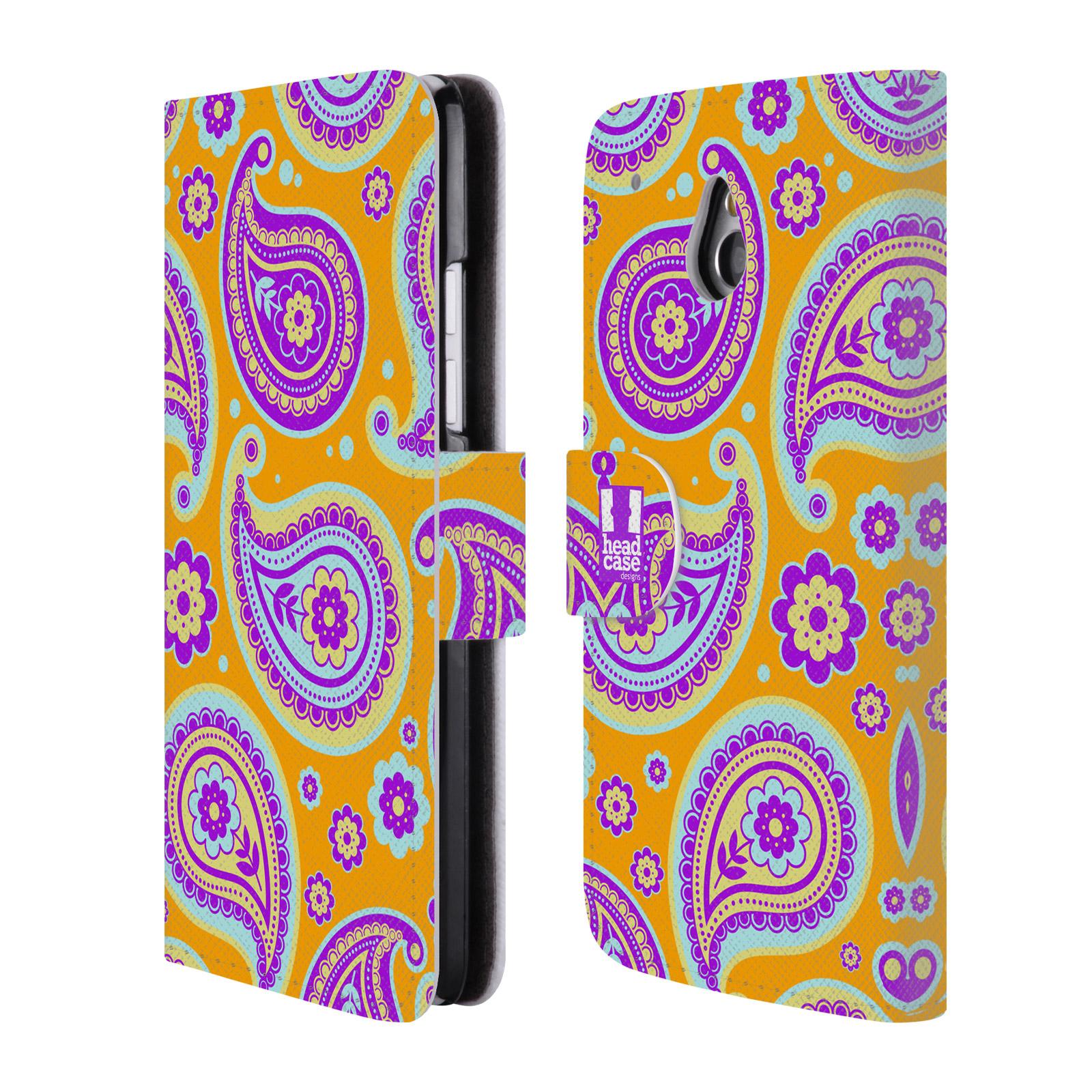 HEAD CASE Flipové pouzdro pro mobil HTC ONE MINI (M4) snové slzy oranžová a fialová