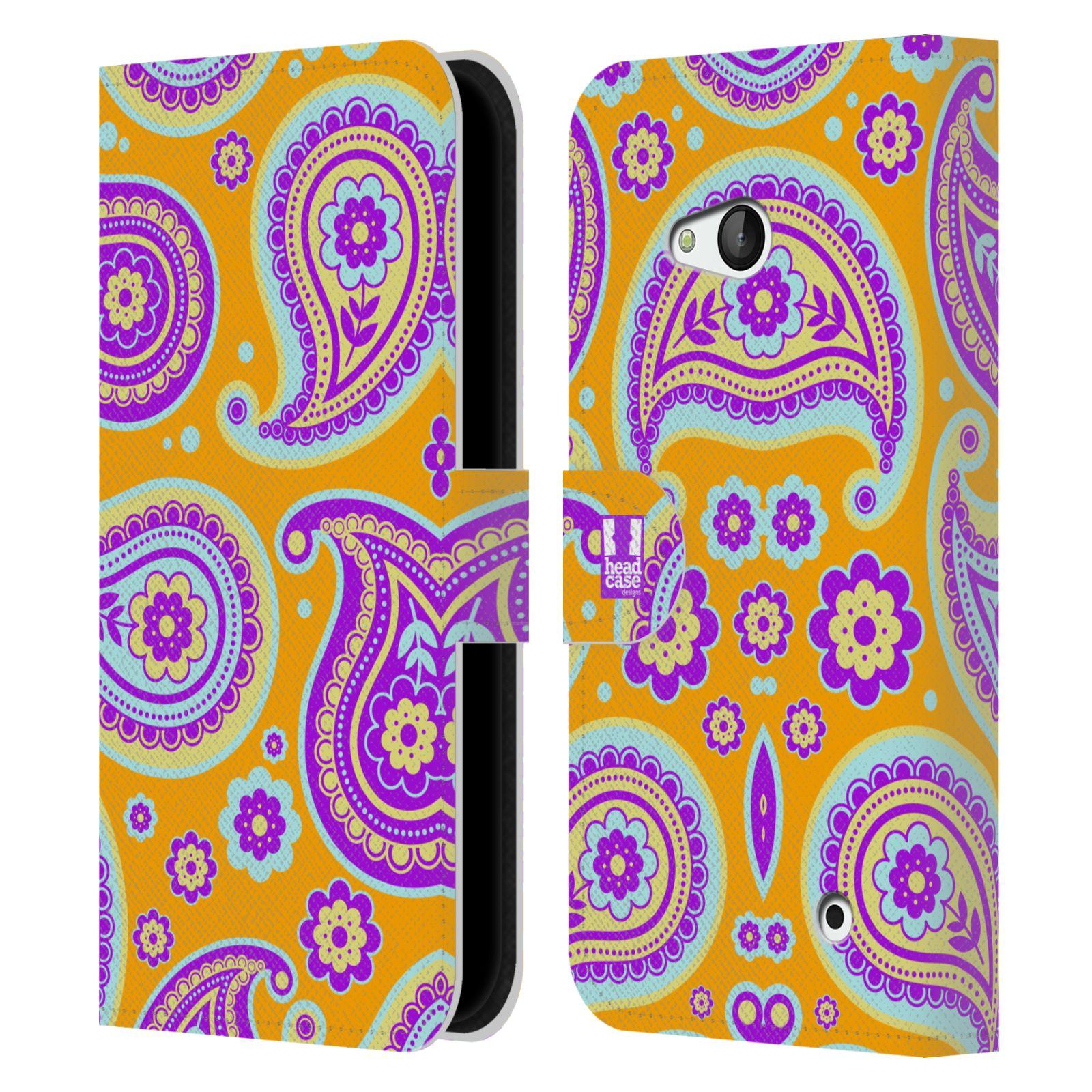 HEAD CASE Flipové pouzdro pro mobil NOKIA / MICROSOFT LUMIA 640 / LUMIA 640 DUAL snové slzy oranžová a fialová