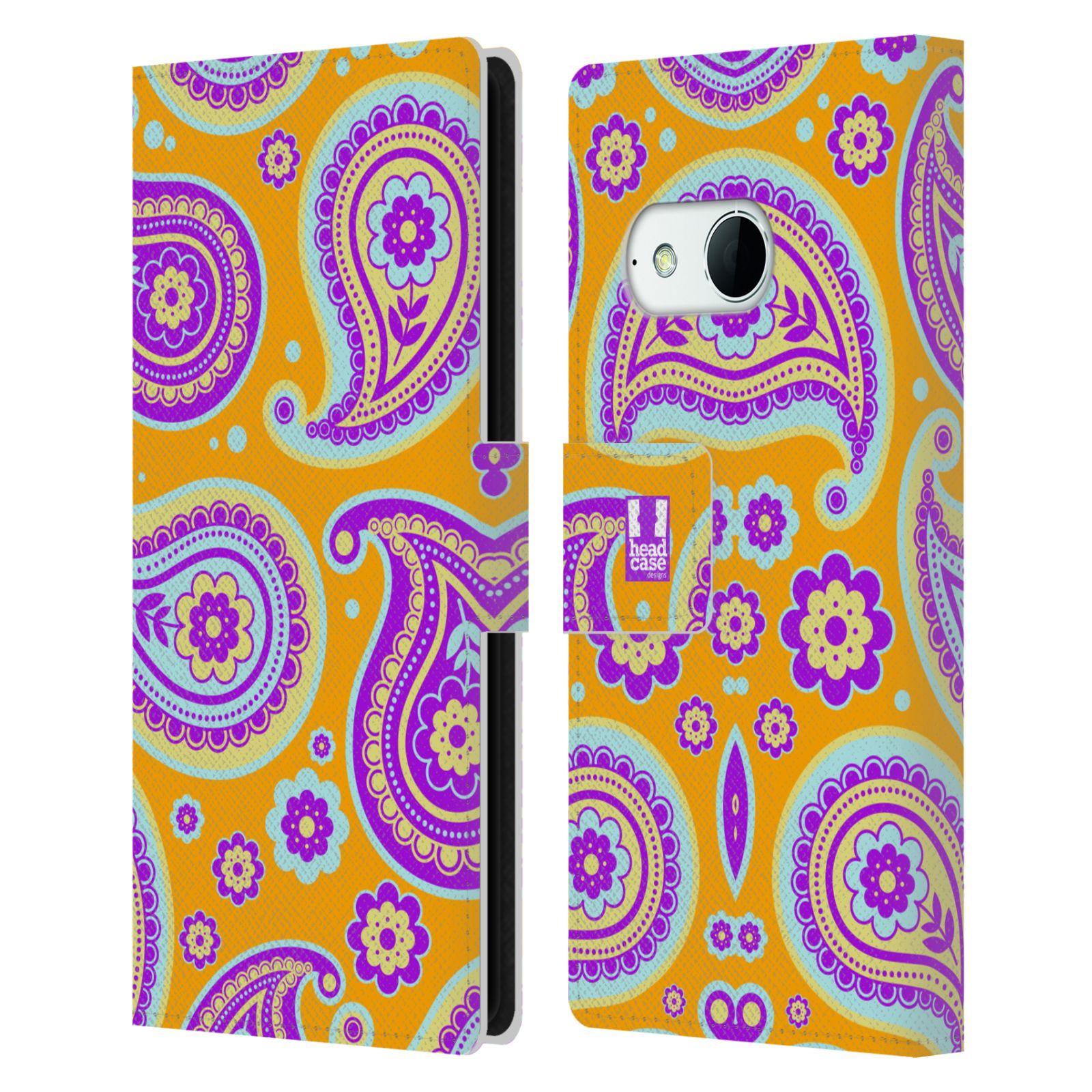 HEAD CASE Flipové pouzdro pro mobil HTC ONE MINI 2 (M8) snové slzy oranžová a fialová