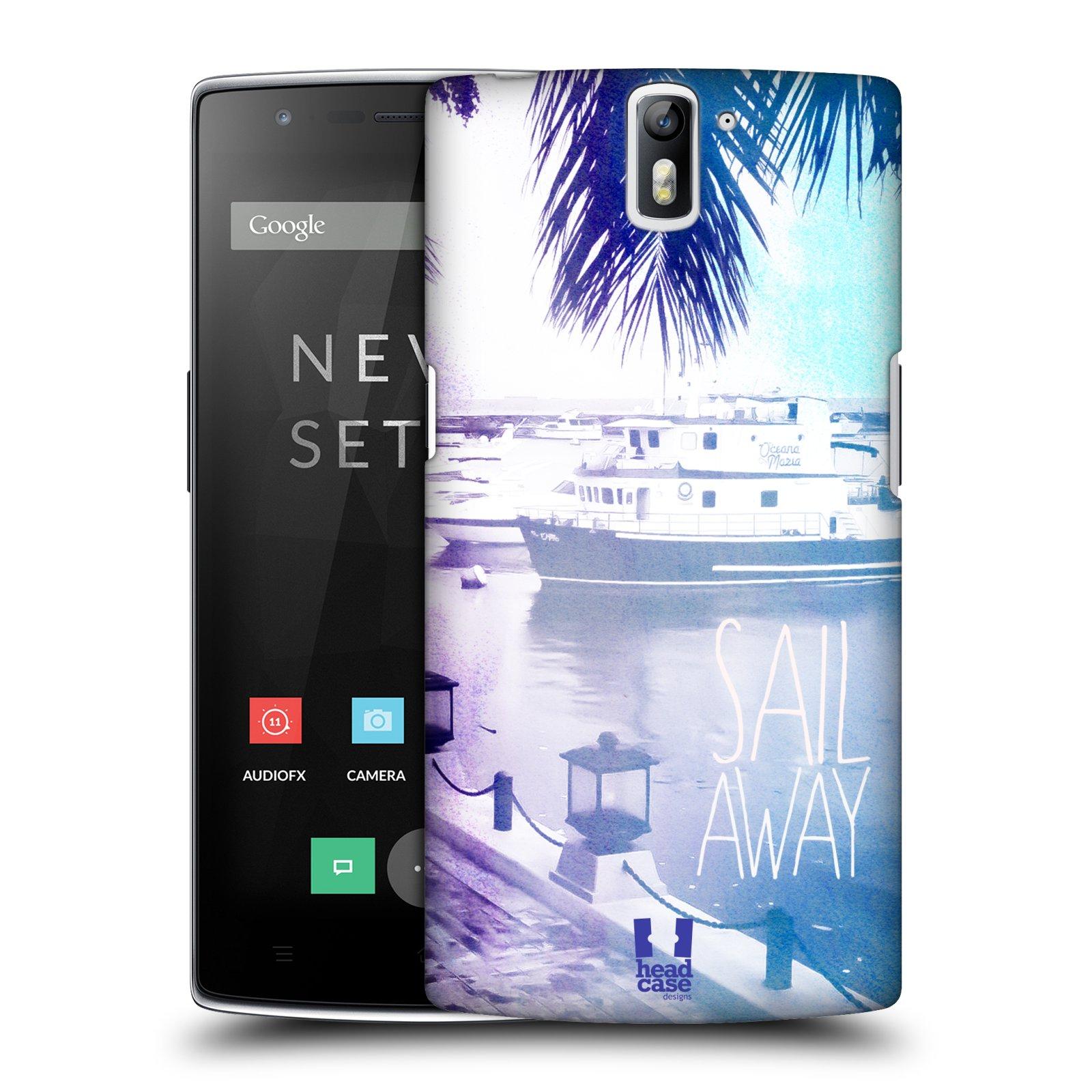 HEAD CASE pevný plastový obal na mobil OnePlus ONE vzor Pozitivní vlny MODRÁ, přístav s loděmi SAIL AWAY