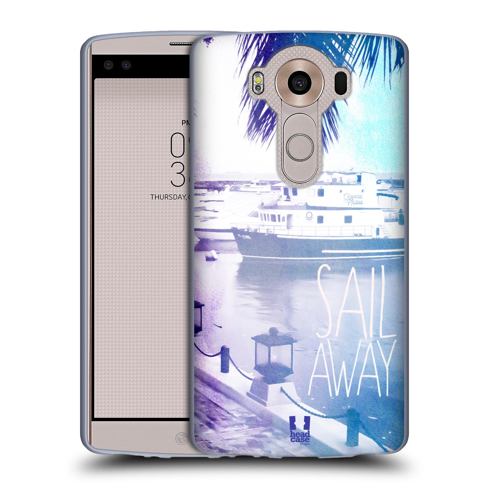 HEAD CASE silikonový obal na mobil LG V10 (H960A) vzor Pozitivní vlny MODRÁ, přístav s loděmi SAIL AWAY