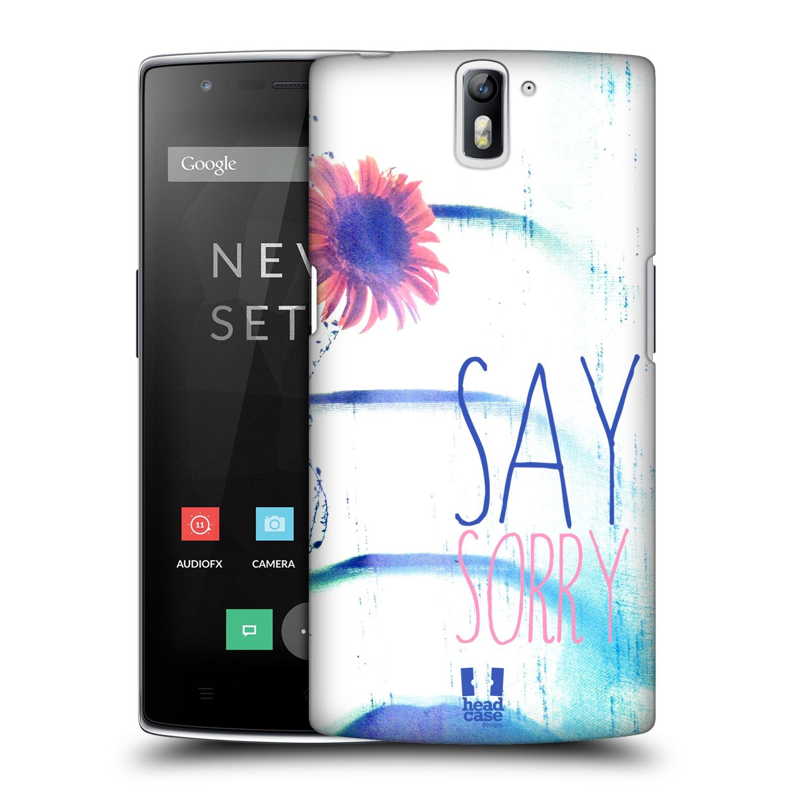 HEAD CASE pevný plastový obal na mobil OnePlus ONE vzor Pozitivní vlny MODRÁ, růžová květina SAY SORRY