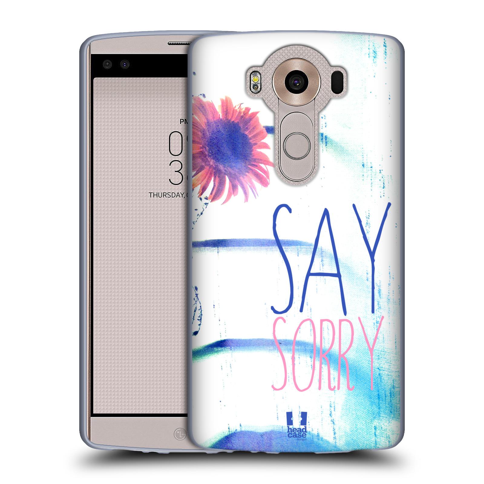 HEAD CASE silikonový obal na mobil LG V10 (H960A) vzor Pozitivní vlny MODRÁ, růžová květina SAY SORRY