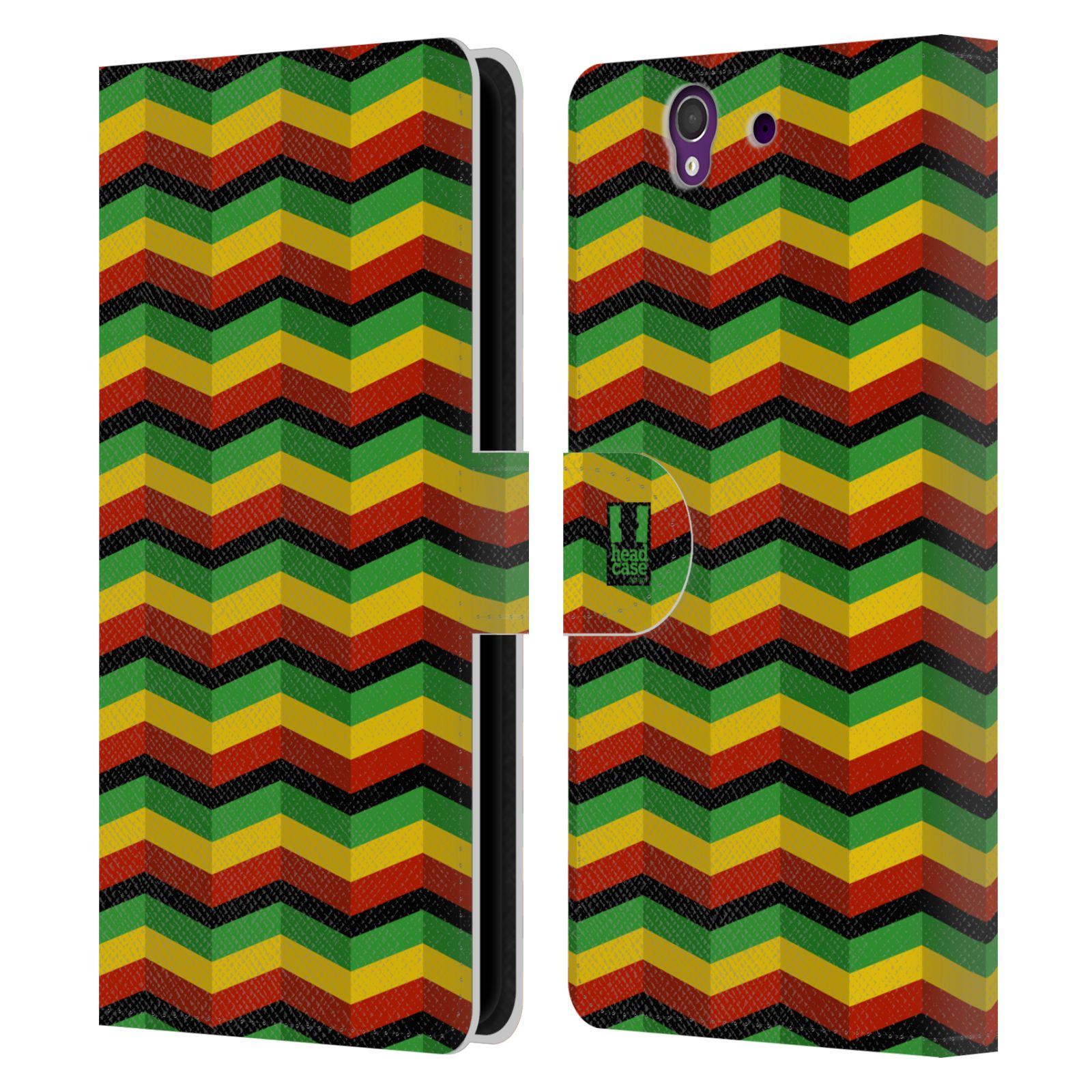 HEAD CASE Flipové pouzdro pro mobil SONY XPERIA Z (C6603) Rastafariánský motiv Jamajka CHEVRON